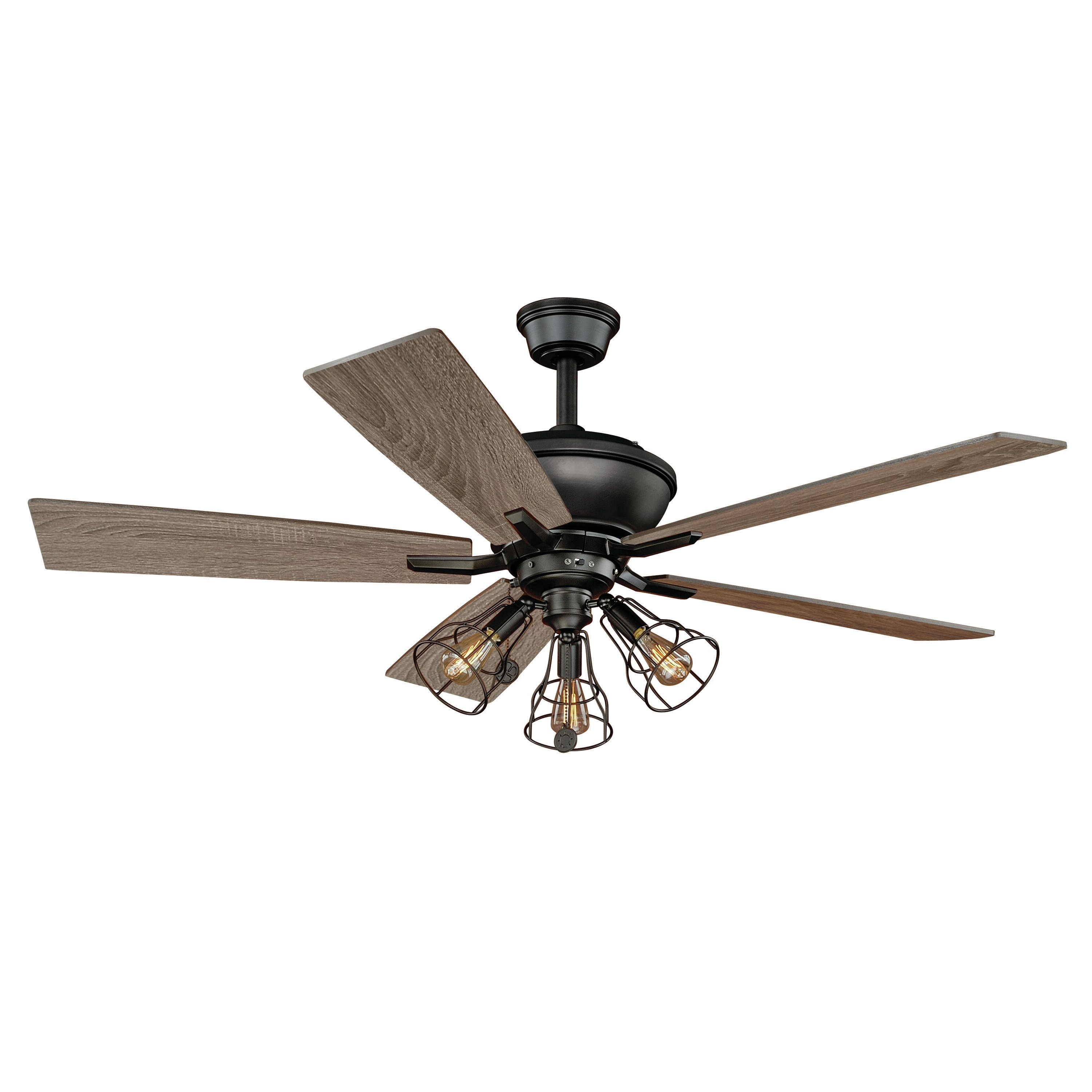 "52"" Clybourn 5 Blade Ceiling Fan In Fashionable Ratcliffe 5 Blade Led Ceiling Fans (View 8 of 20)"