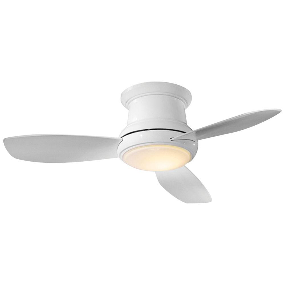 "52"" Concept Ii White Flushmount Led Ceiling Fan – #19W21 Inside Preferred Concept Ii 3 Blade Ceiling Fans (View 3 of 20)"