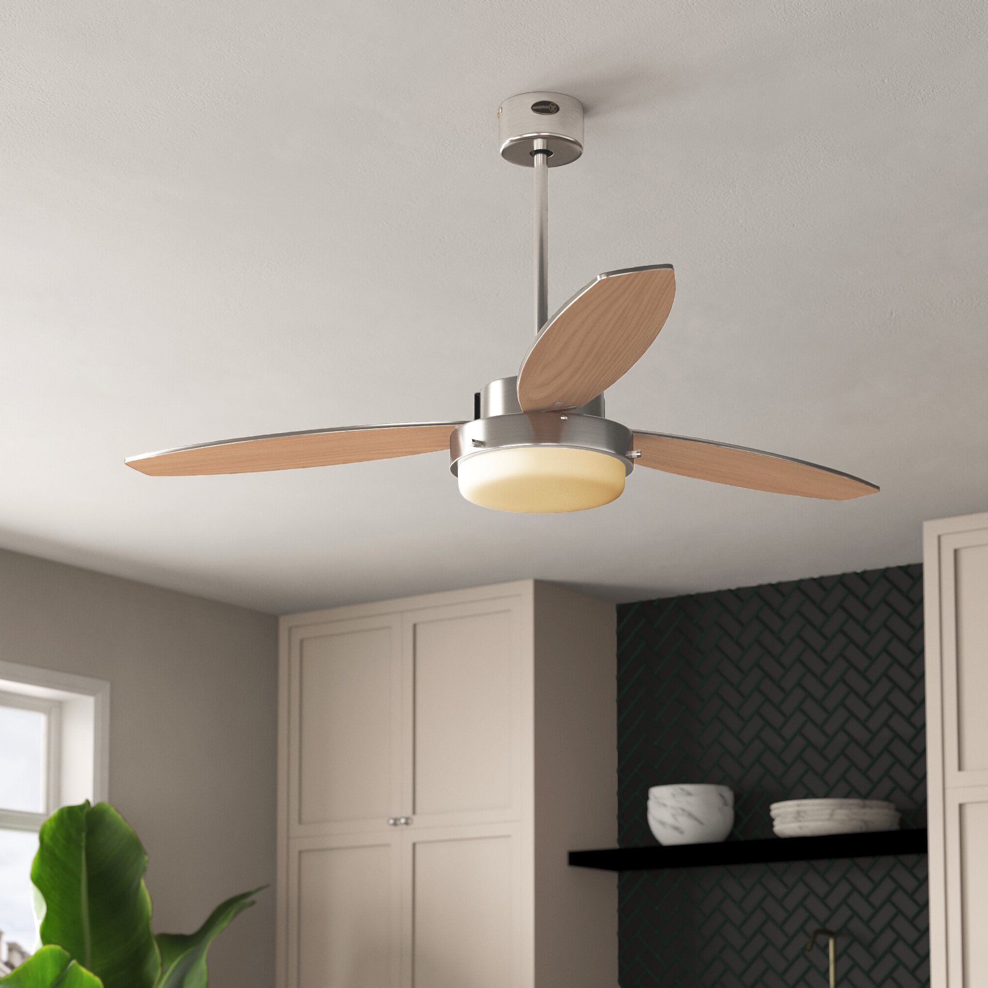 """52"""" Corsa Two Light Reversible Plywood 3 Blade Ceiling Fan, Light Kit Included Pertaining To Preferred Corsa 3 Blade Ceiling Fans (View 7 of 20)"""