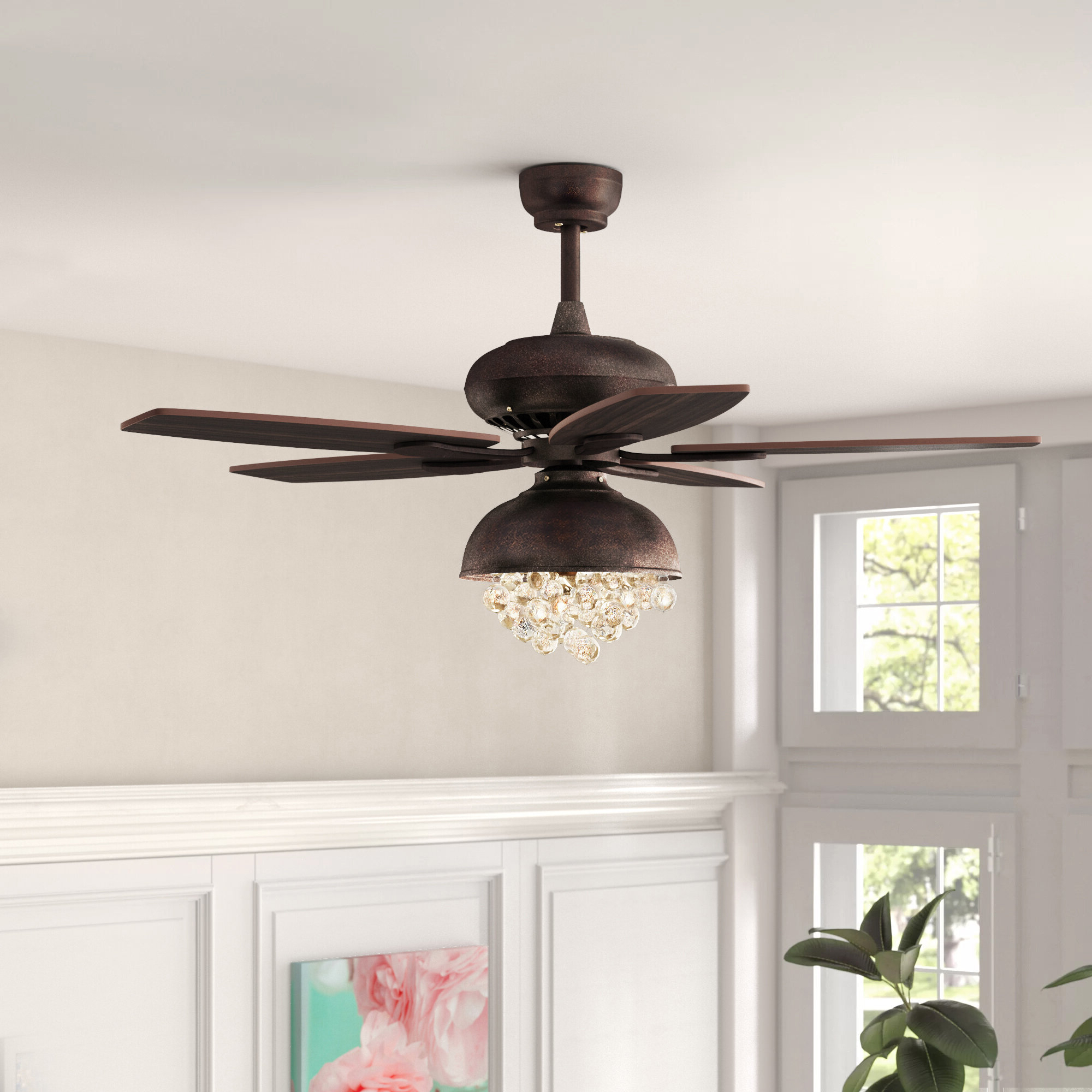 "52"" Davidson 5 Blade Ceiling Fan With Remote, Light Kit Included Throughout 2020 Mccarthy 5 Blade Ceiling Fans (View 4 of 20)"