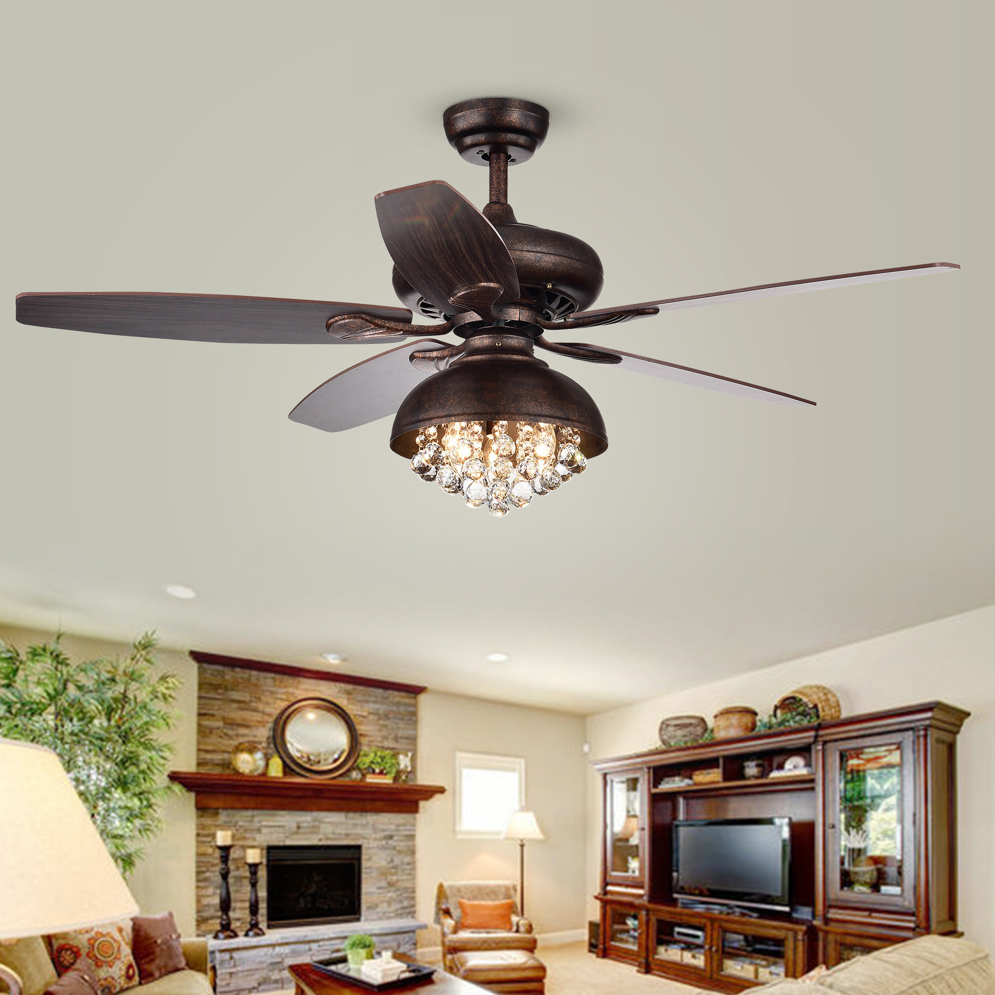 "52"" Davidson 5 Blade Ceiling Fan With Remote, Light Kit Included Within Latest Mattias 5 Blade Ceiling Fans (View 3 of 20)"