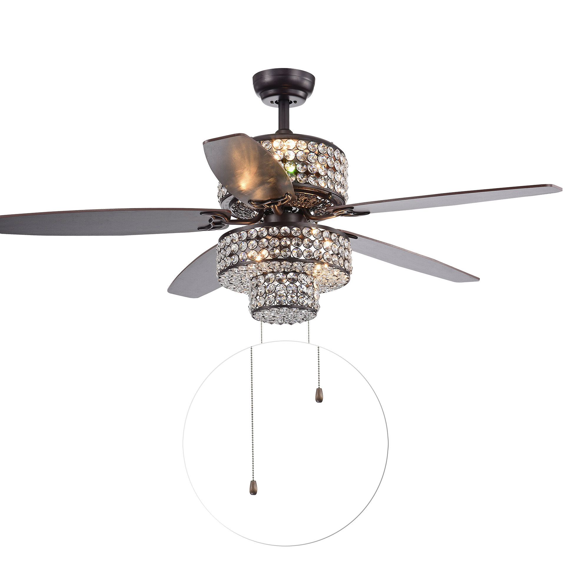"52"" Gagnon 5 Blade Ceiling Fan With Remote, Light Kit Included With Well Known Tibuh Punched Metal Crystal 5 Blade Ceiling Fans With Remote (View 9 of 20)"