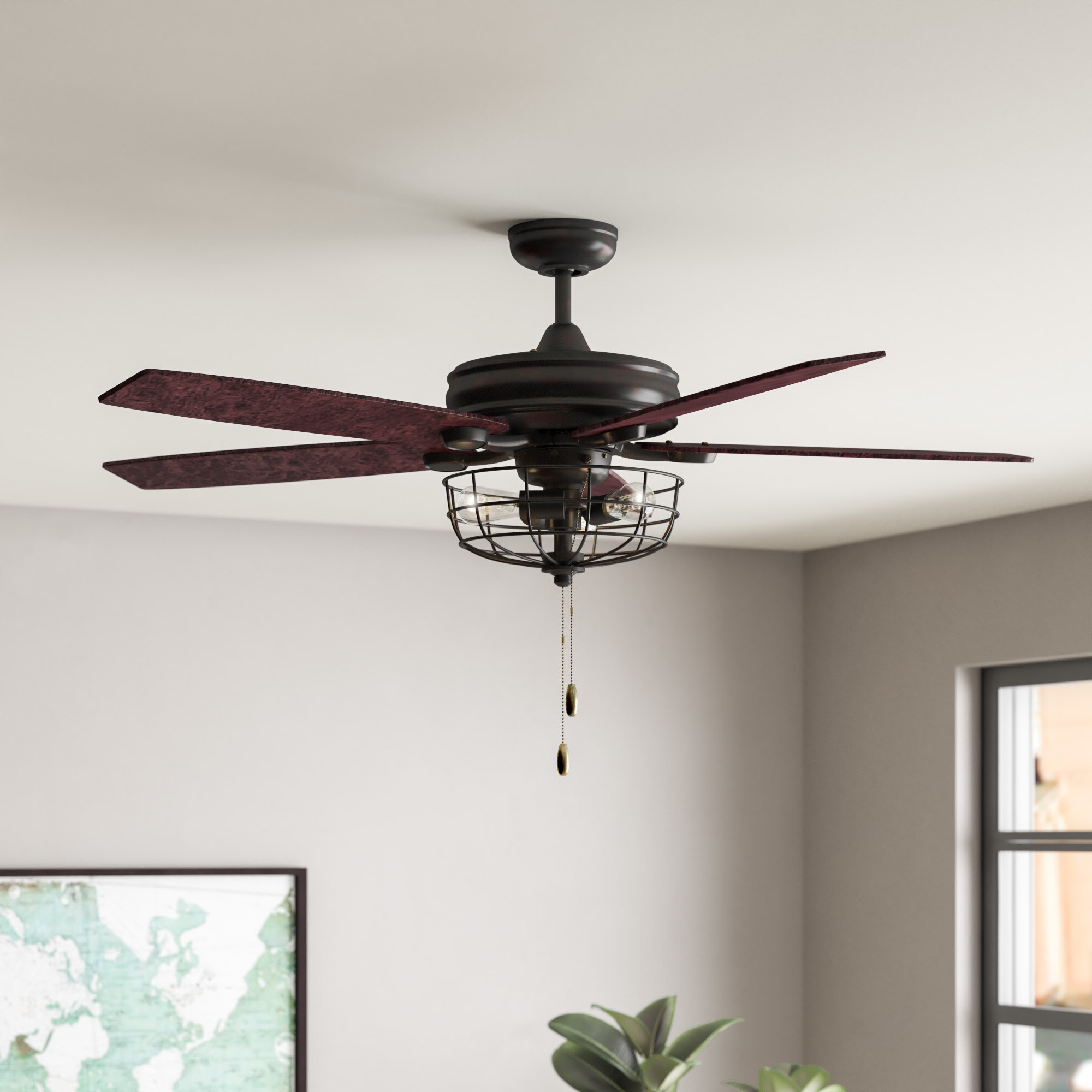 """52"""" Glenpool 5 Blade Ceiling Fan, Light Kit Included Inside Widely Used Roberts 5 Blade Ceiling Fans (View 2 of 20)"""