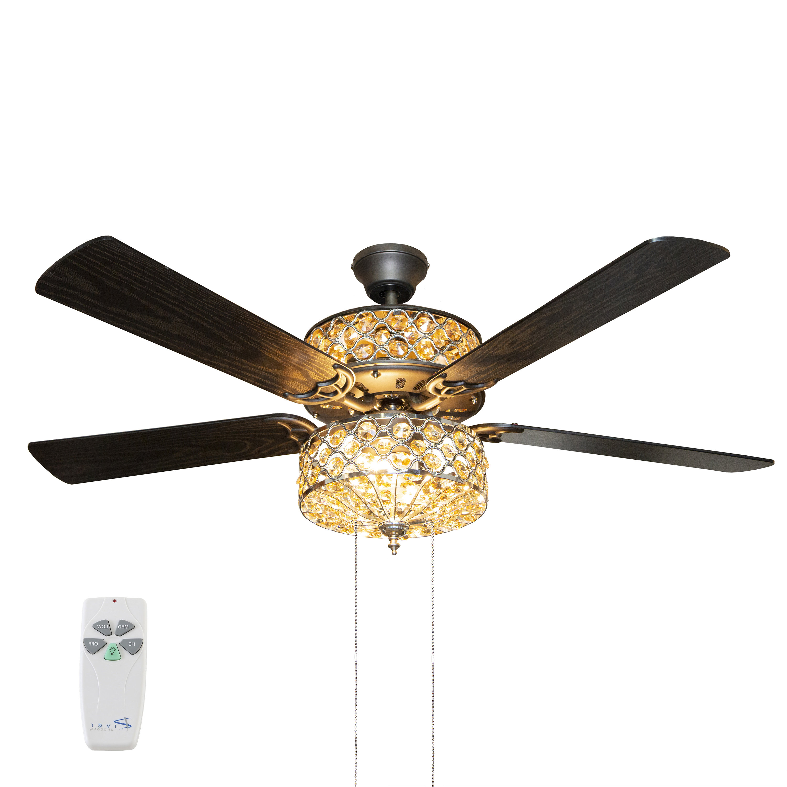 """52"""" Irven 5 Blade Ceiling Fan With Remote, Light Kit Included Throughout Current 5 Blade Ceiling Fans With Remote (View 11 of 20)"""