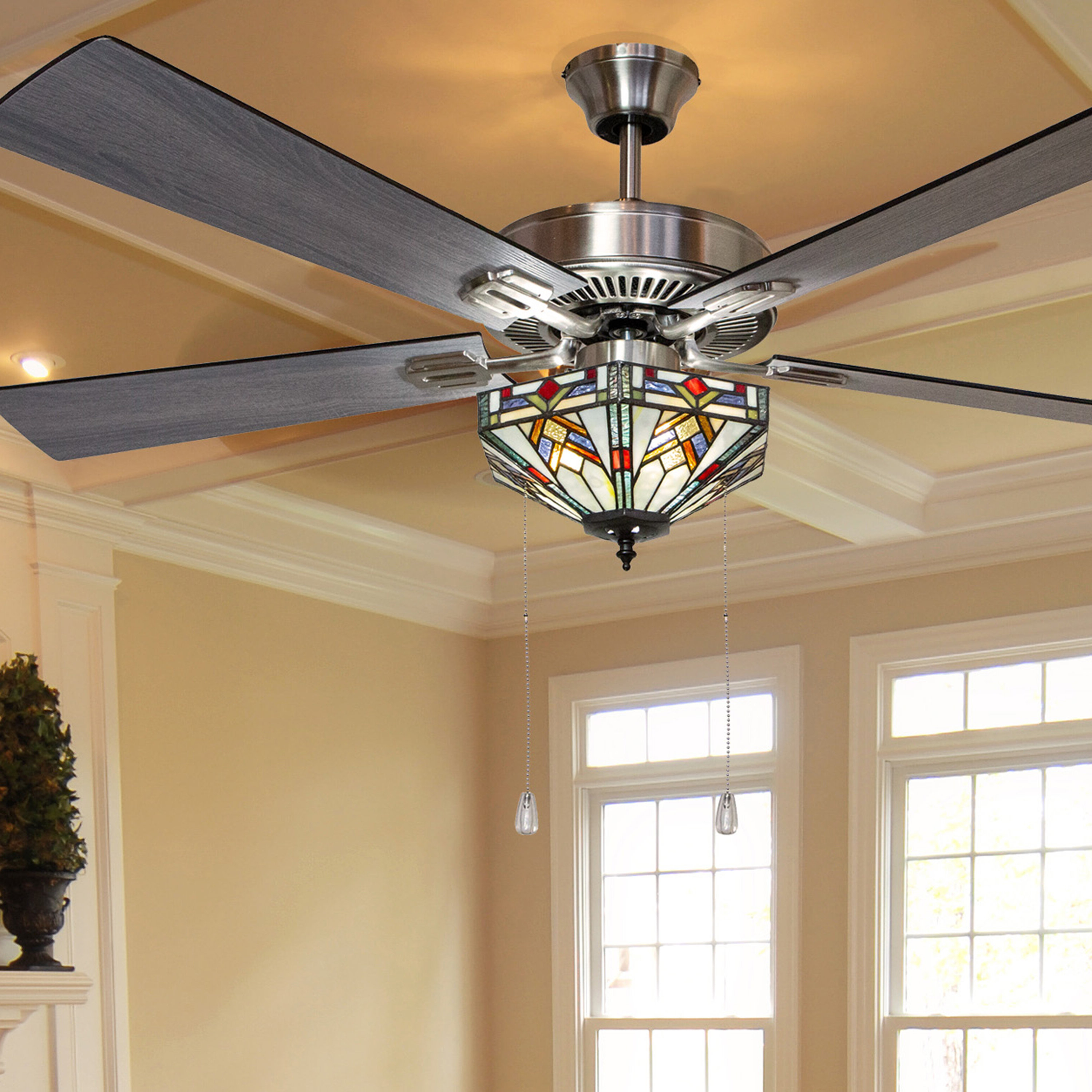 "52"" Londono Bungalow Mission Glass 5 Blade Ceiling Fan With Remote, Light  Kit Included With Regard To Most Recently Released Fredericksen 5 Blade Ceiling Fans (View 4 of 20)"