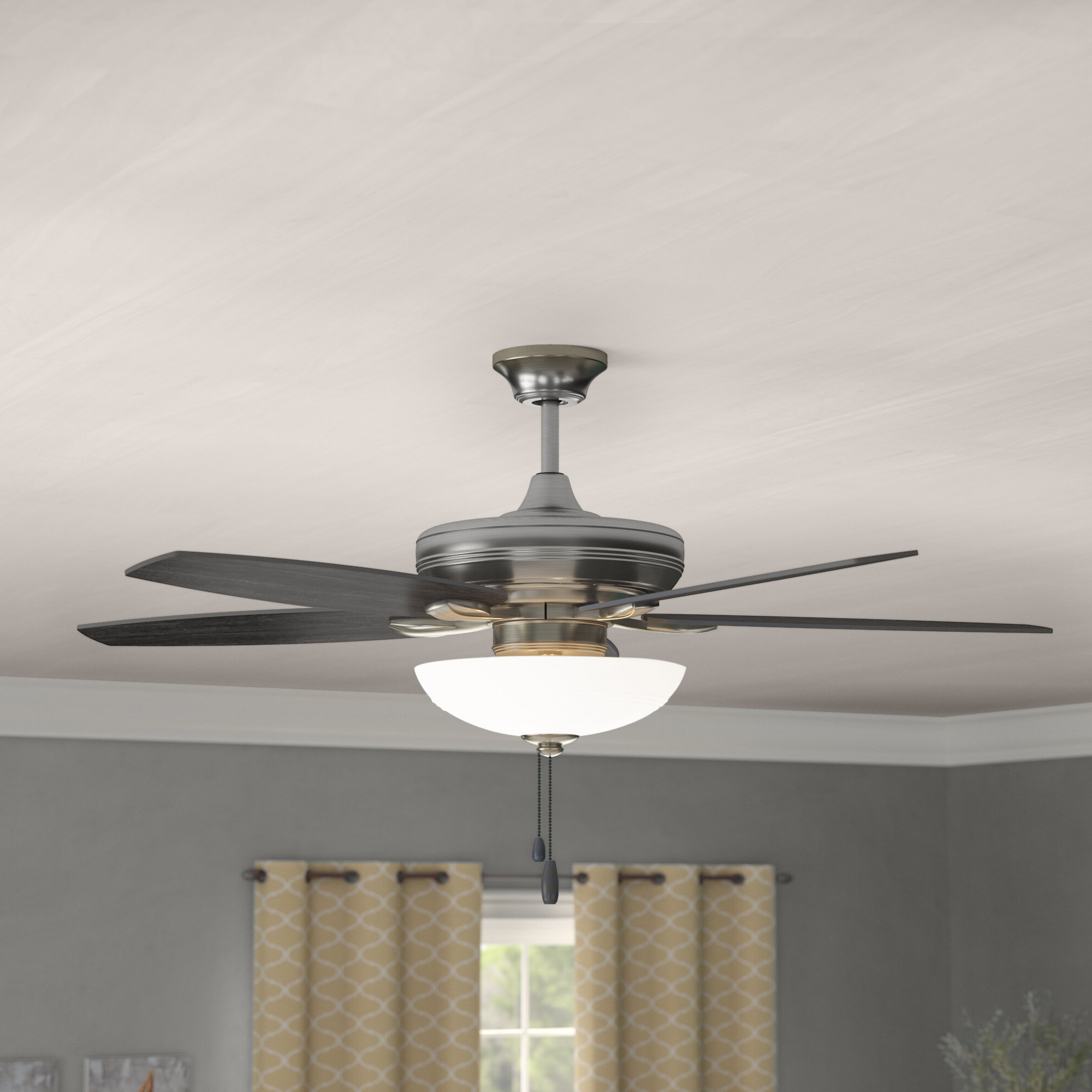 "52"" Millfield 5 Blades Led Ceiling Fan, Light Kit Included Throughout Current Auden 5 Blade Led Ceiling Fans (View 7 of 20)"