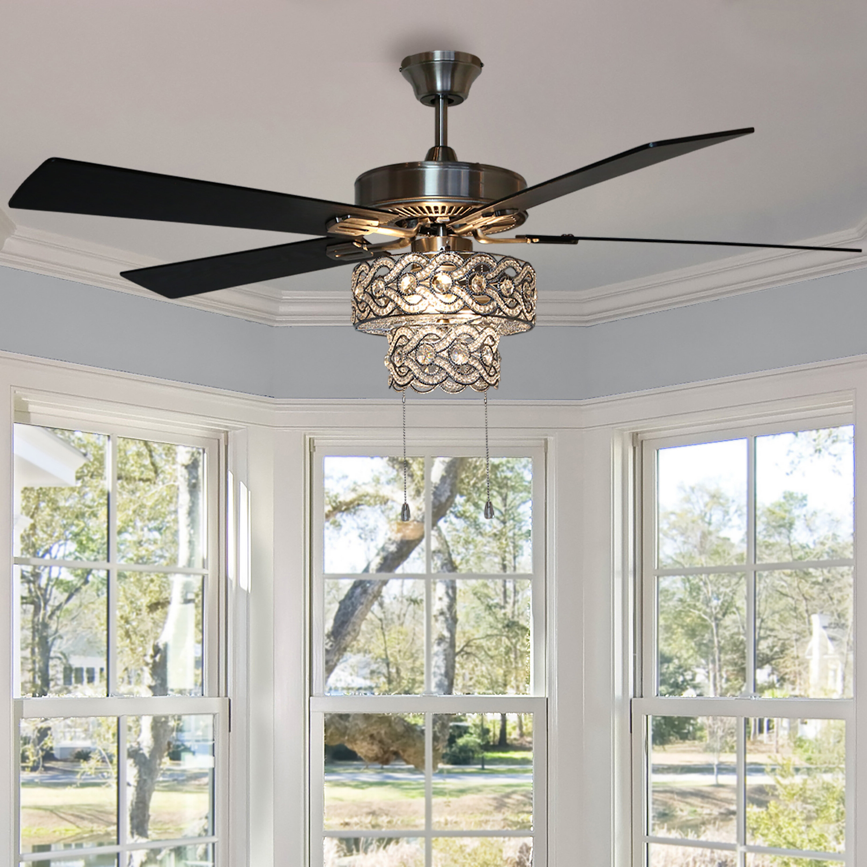 """52"""" Nowthen Beaded Braid 5 Blade Ceiling Fan With Remote, Light Kit Included For Well Liked Njie Caged Crystal 5 Blade Ceiling Fans (View 3 of 20)"""