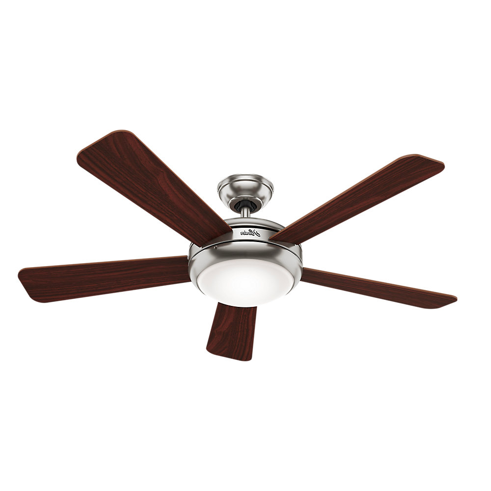 "52"" Palermo 5 Blade Ceiling Fan With Remote, Light Kit Included With 2020 Dempsey Low Profile 4 Blade Ceiling Fans With Remote (Gallery 18 of 20)"