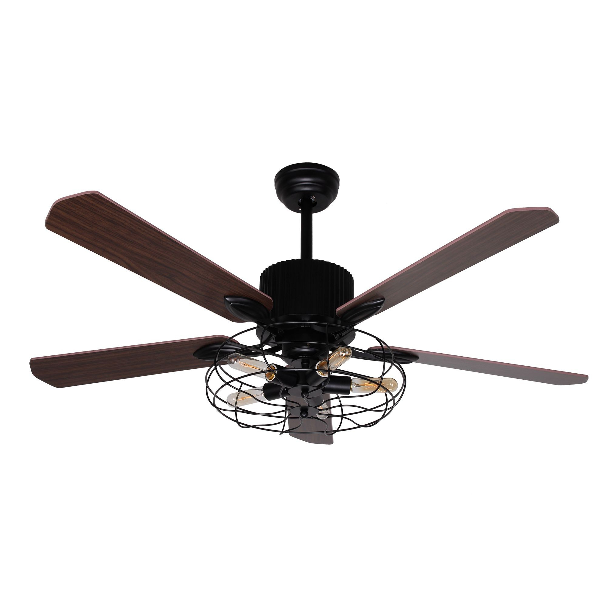 """52"""" Roberts Industrial Caged Chandelier Ceiling Fan With Light And Remote  Control, 5 Blades, Black Throughout Current Roberts 5 Blade Ceiling Fans (View 5 of 20)"""