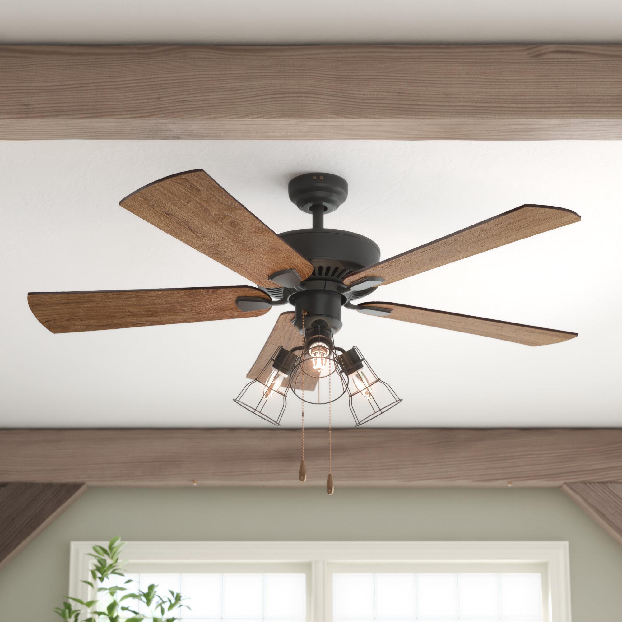 "52"" Socorro 5 Blade Led Ceiling Fan, Light Kit Included Intended For Popular Ravello 5 Blade Led Ceiling Fans (View 8 of 20)"