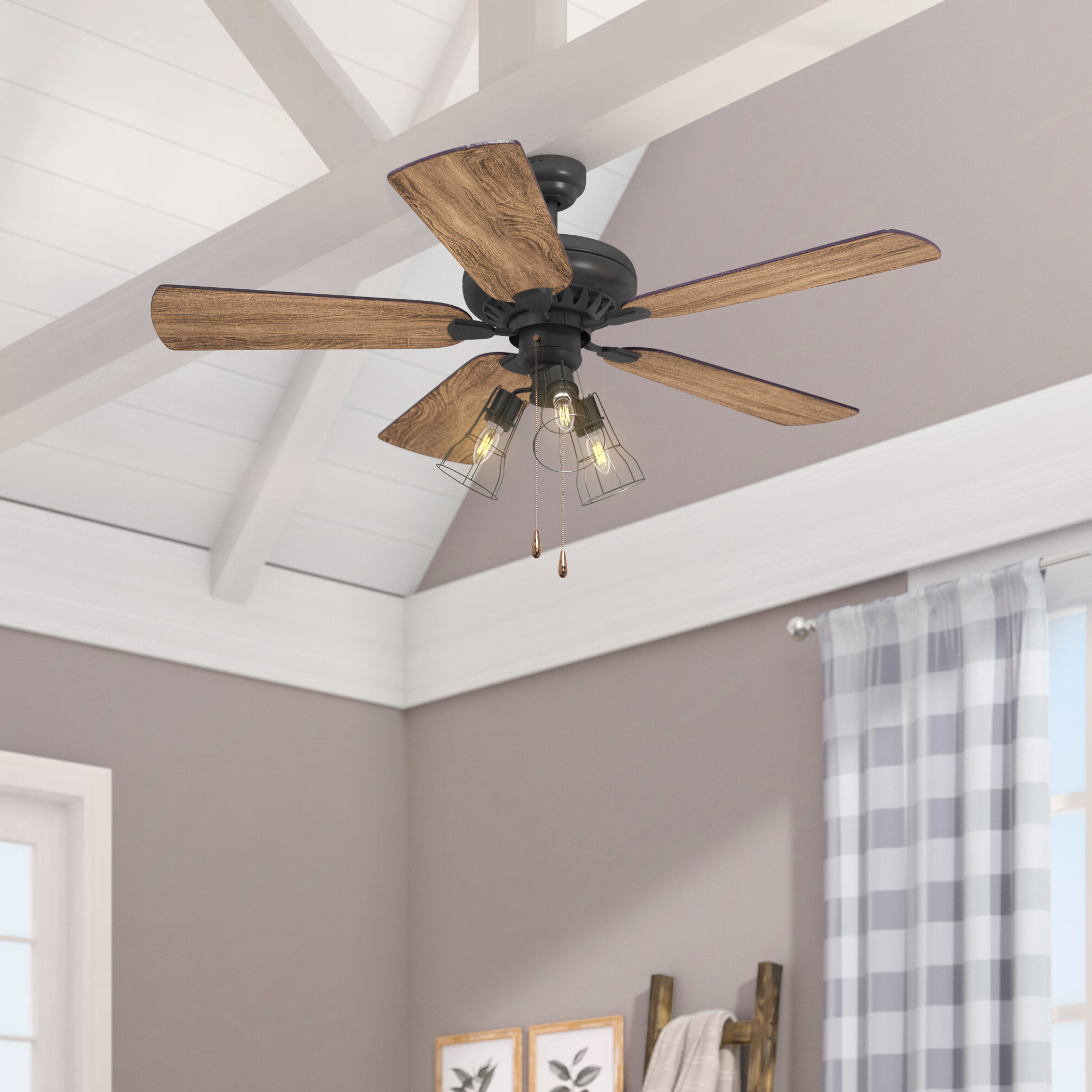 "52"" Theron 5 Blade Led Ceiling Fan In Newest Ratcliffe 5 Blade Led Ceiling Fans (View 17 of 20)"