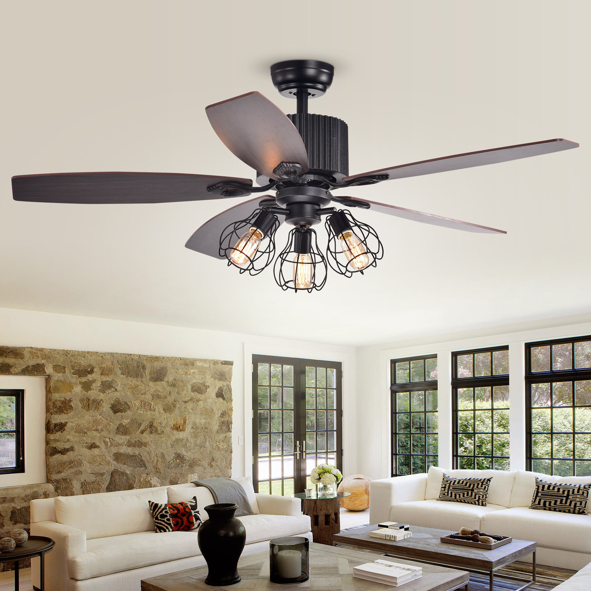 "52"" Tupper 5 Blade Ceiling Fan, Light Kit Included In Most Recent Norah 5 Blade Ceiling Fans (View 9 of 20)"