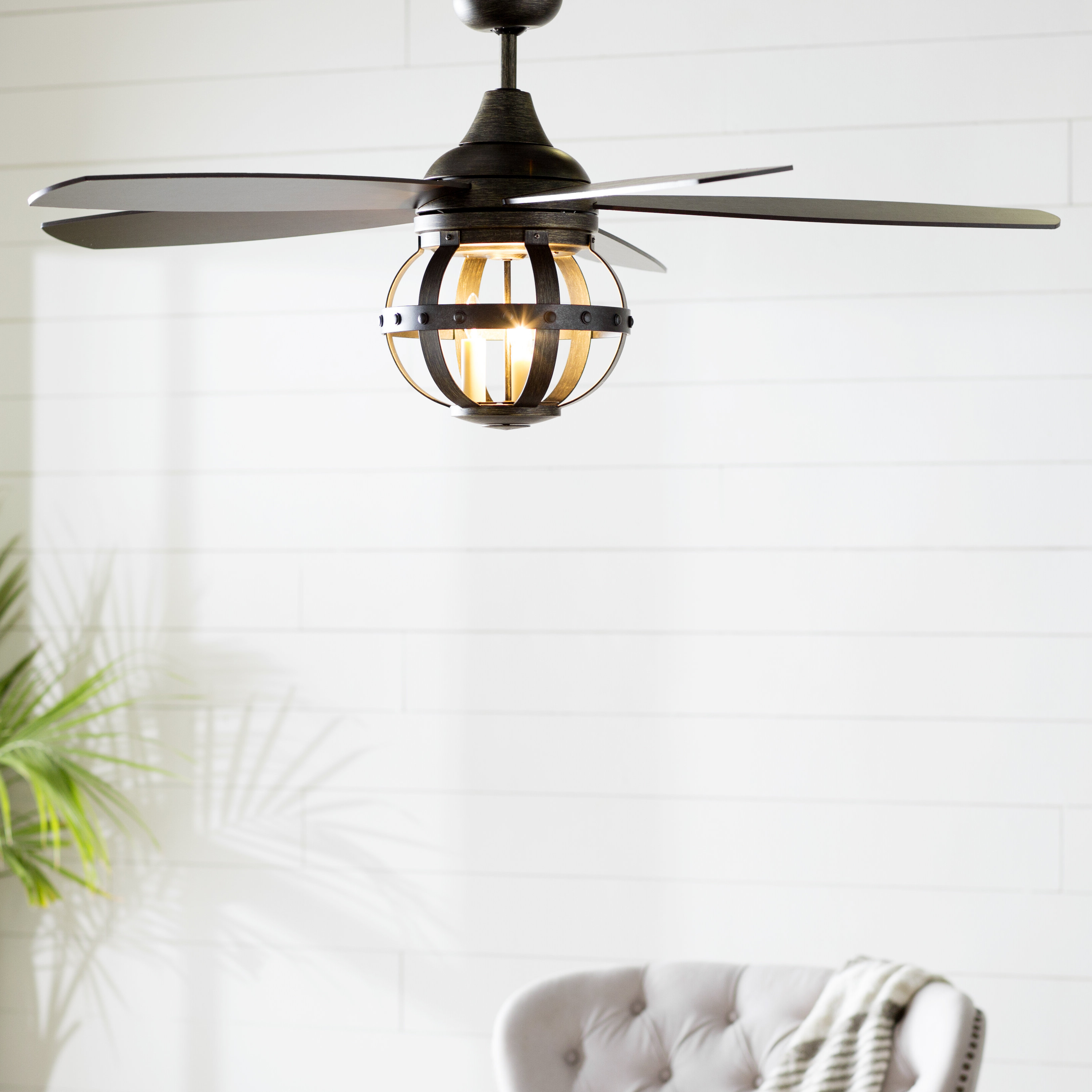 """52"""" Wilburton 5 Blade Ceiling Fan With Remote, Light Kit Included Throughout Trendy Rainman 5 Blade Outdoor Ceiling Fans (View 3 of 20)"""