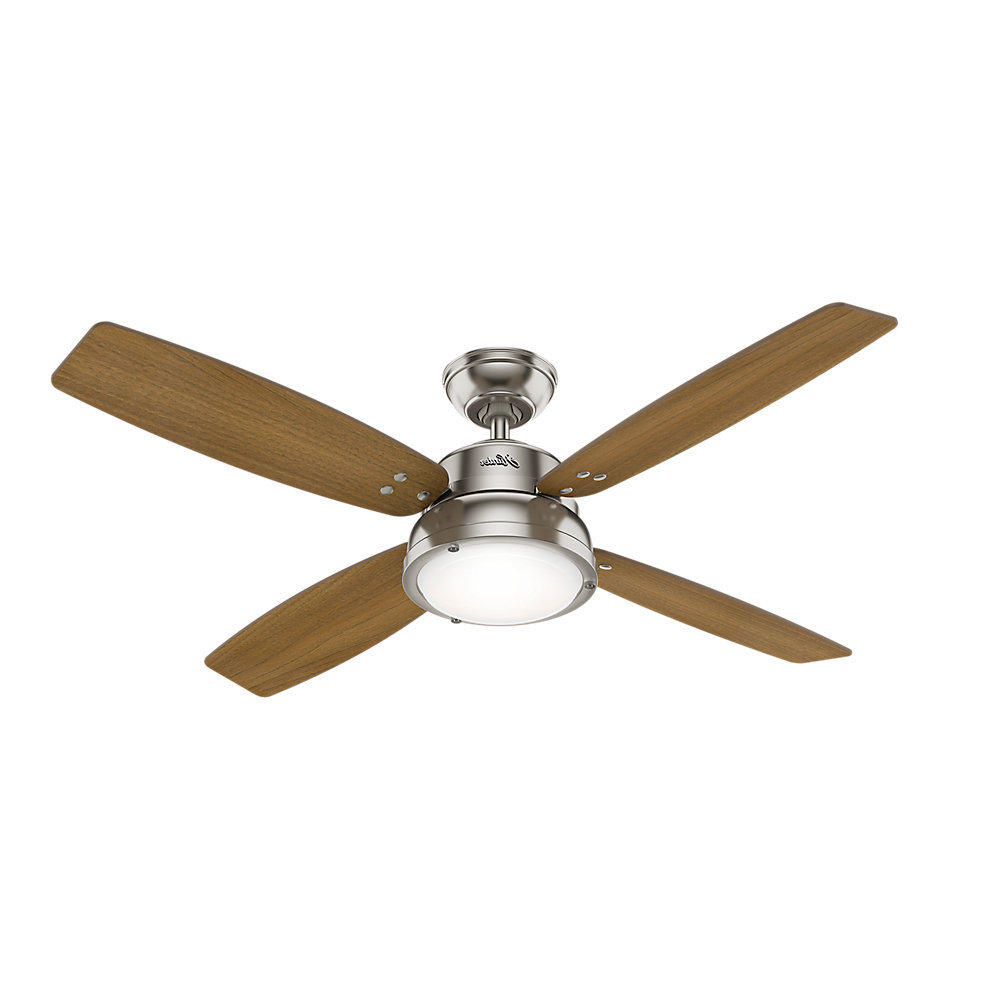 "52"" Wingate 4 Blade Led Ceiling Fan With Remote, Light Kit Included For Most Popular Sentinel 3 Blade Led Ceiling Fans With Remote (View 15 of 20)"
