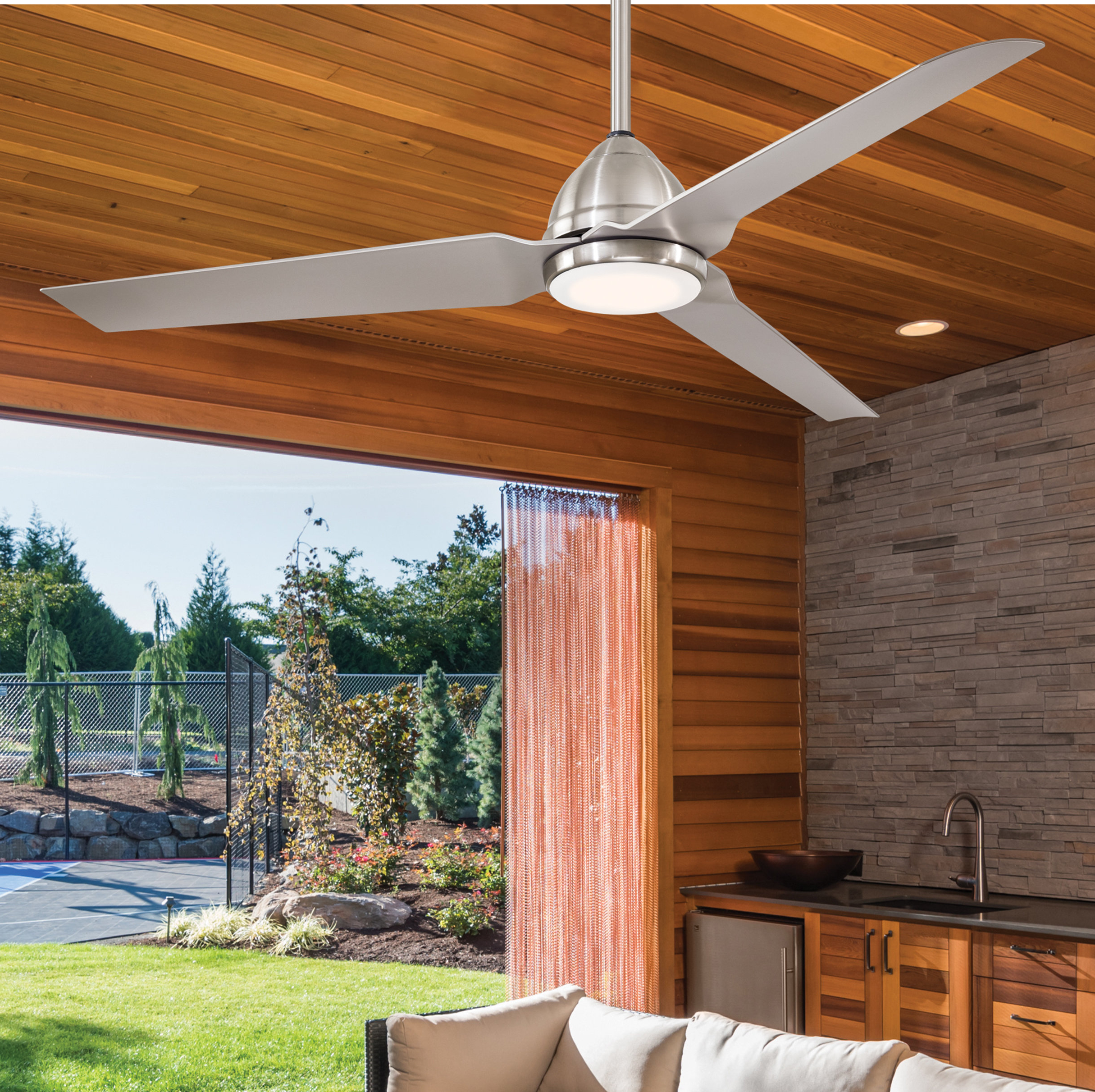 """54"""" Java 3 Blade Outdoor Led Ceiling Fan With Remote Intended For Popular Java 3 Blade Outdoor Led Ceiling Fans (View 4 of 20)"""