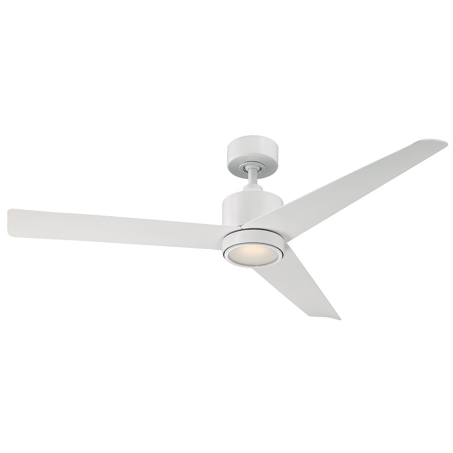 "54"" Lotus 3 Blade Outdoor Led Ceiling Fan With Remote Intended For Widely Used Java 3 Blade Outdoor Led Ceiling Fans (View 5 of 20)"