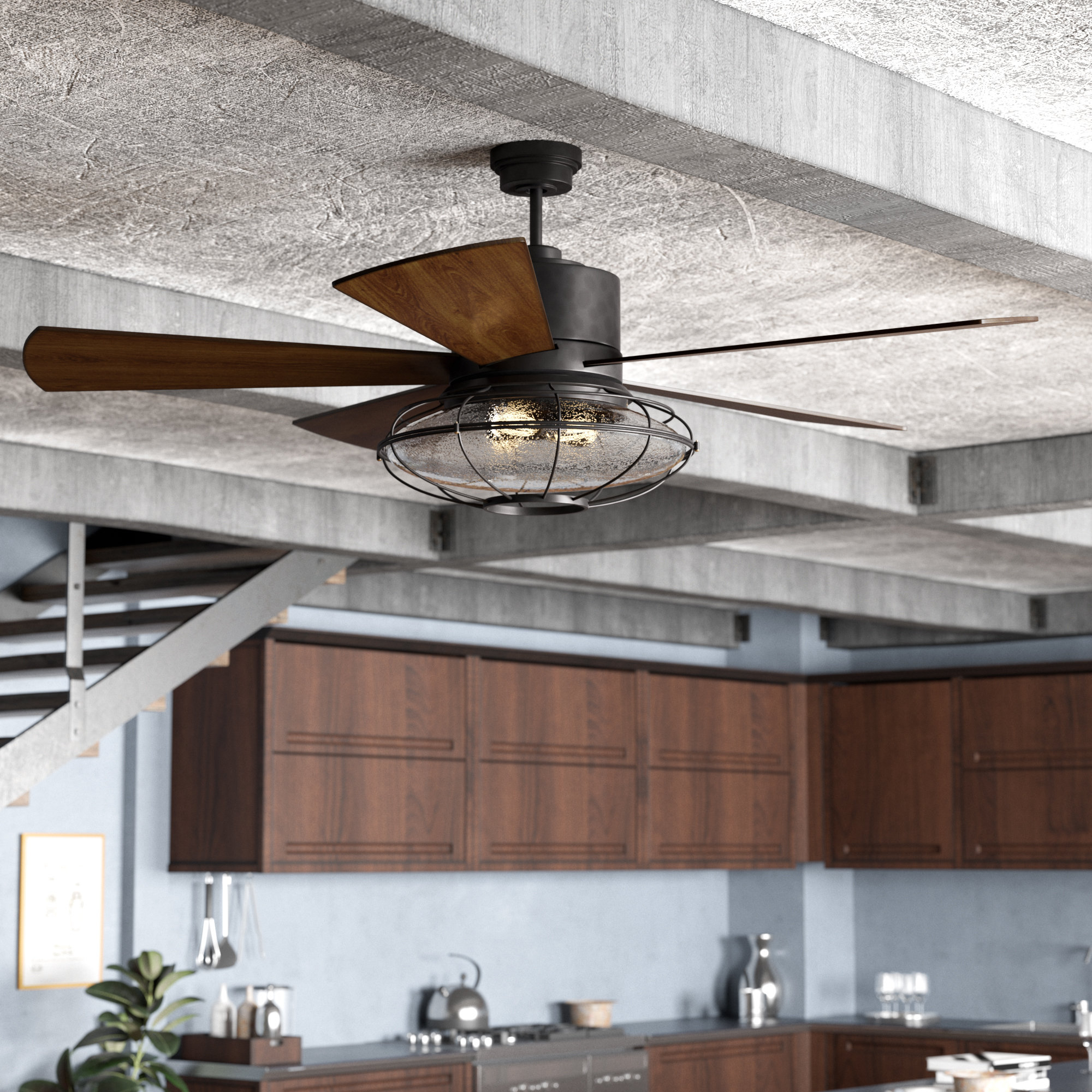"""56"""" Roberts 5 Blade Ceiling Fan With Remote Control, Light Kit Included Throughout Most Up To Date Roberts 5 Blade Ceiling Fans (View 6 of 20)"""