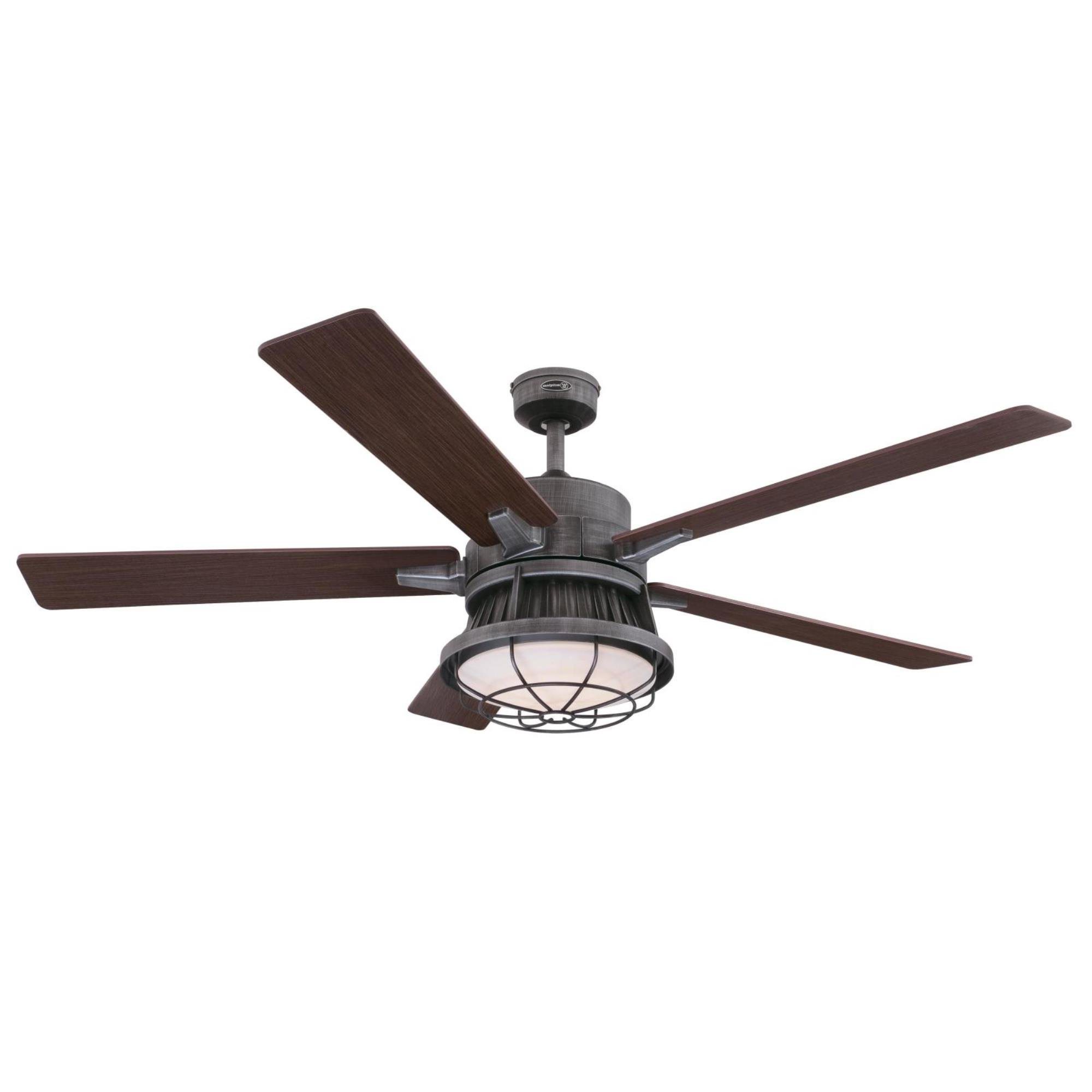 "60"" Rosser 5 Blade Led Ceiling Fan With Remote, Light Kit Included For Trendy Roberts 5 Blade Ceiling Fans (View 16 of 20)"