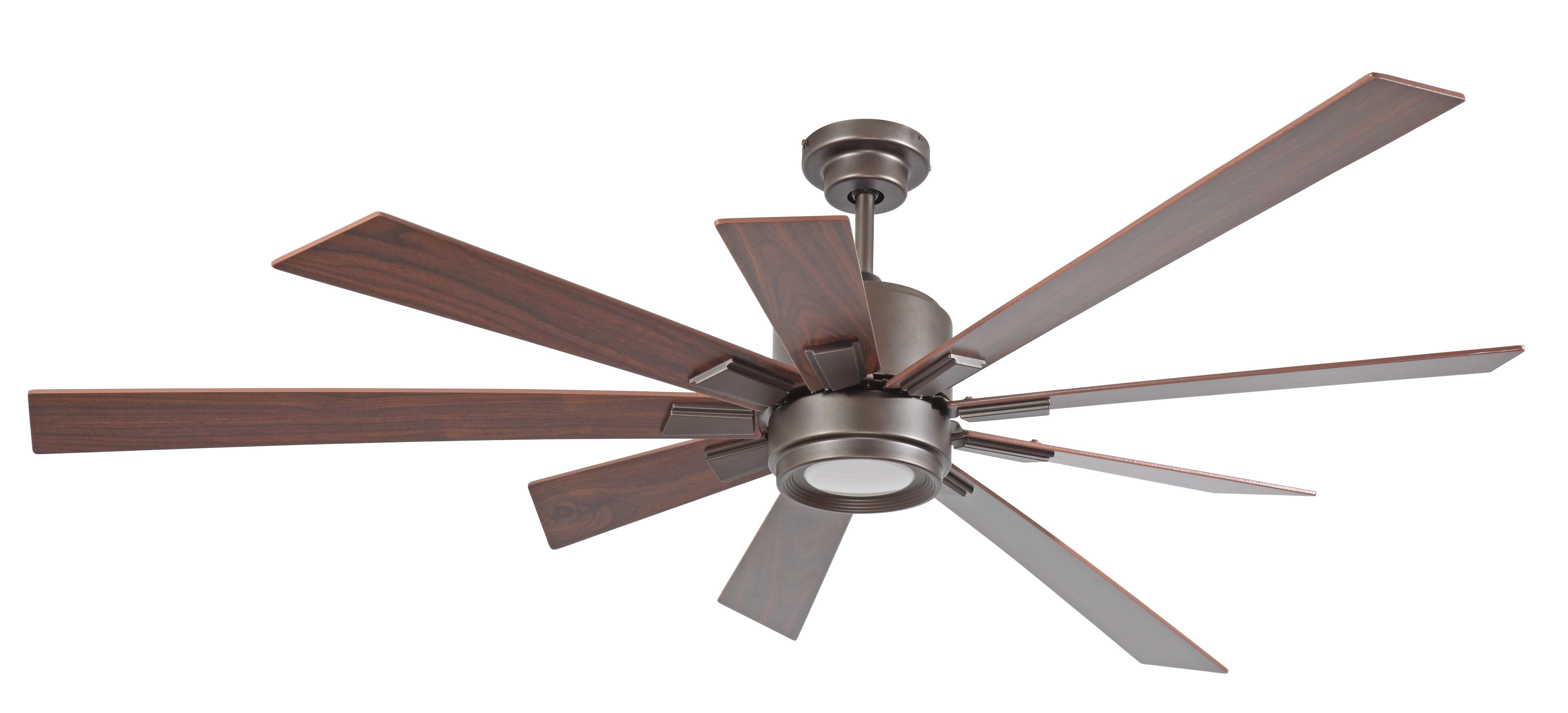 "72"" Birney 9 Blade Ceiling Fan, Light Kit Included With Well Known Bankston 8 Blade Led Ceiling Fans (Gallery 15 of 20)"