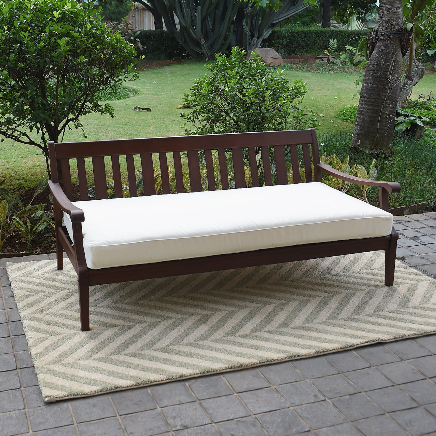 Alston Wood Outdoor Sofa Daybed With White Cushion With 2020 Aubrie Patio Daybeds With Cushions (View 3 of 25)
