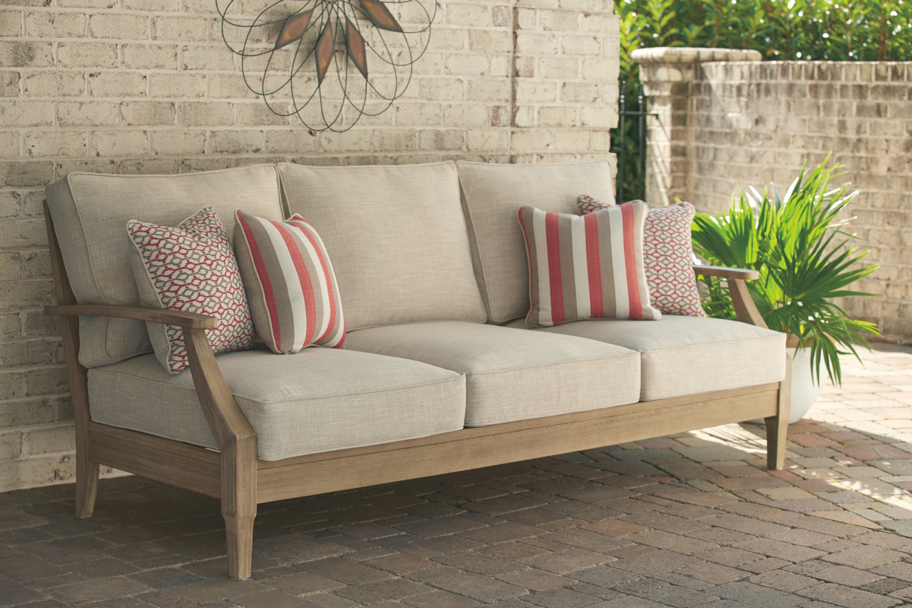 Anguiano Patio Sofa With Cushions Inside Most Current Keever Patio Sofas With Sunbrella Cushions (Gallery 5 of 20)