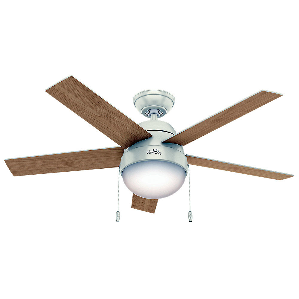 """Anslee 5 Blade Ceiling Fans Pertaining To Most Up To Date Details About Hunter Anslee Anslee 46"""" Indoor Ceiling Fan – 5 Reversible  Blades And Light Kit (View 5 of 20)"""