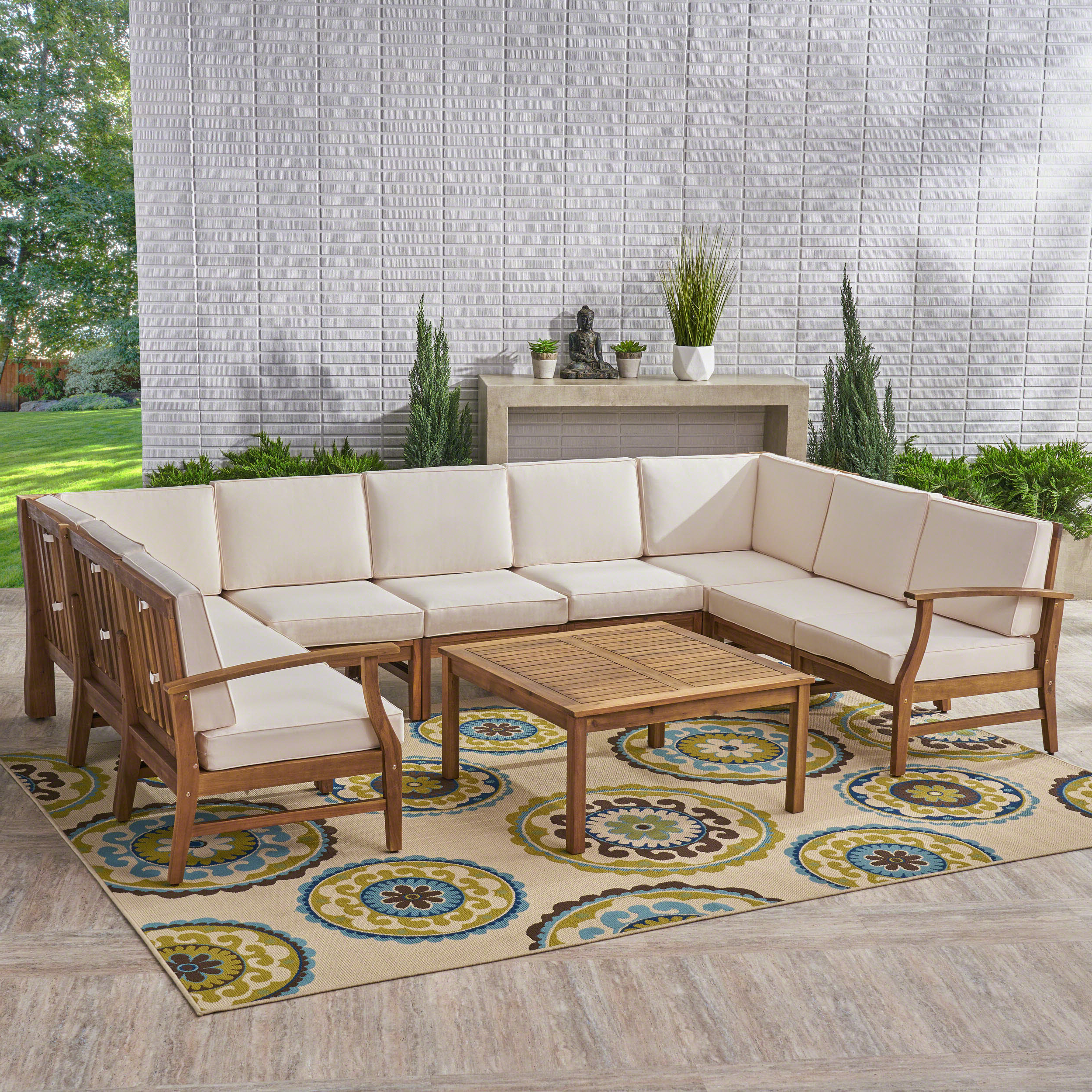Antonia 10 Piece Sectional Set With Cushions Inside Most Up To Date Antonia Teak Patio Sectionals With Cushions (View 1 of 25)