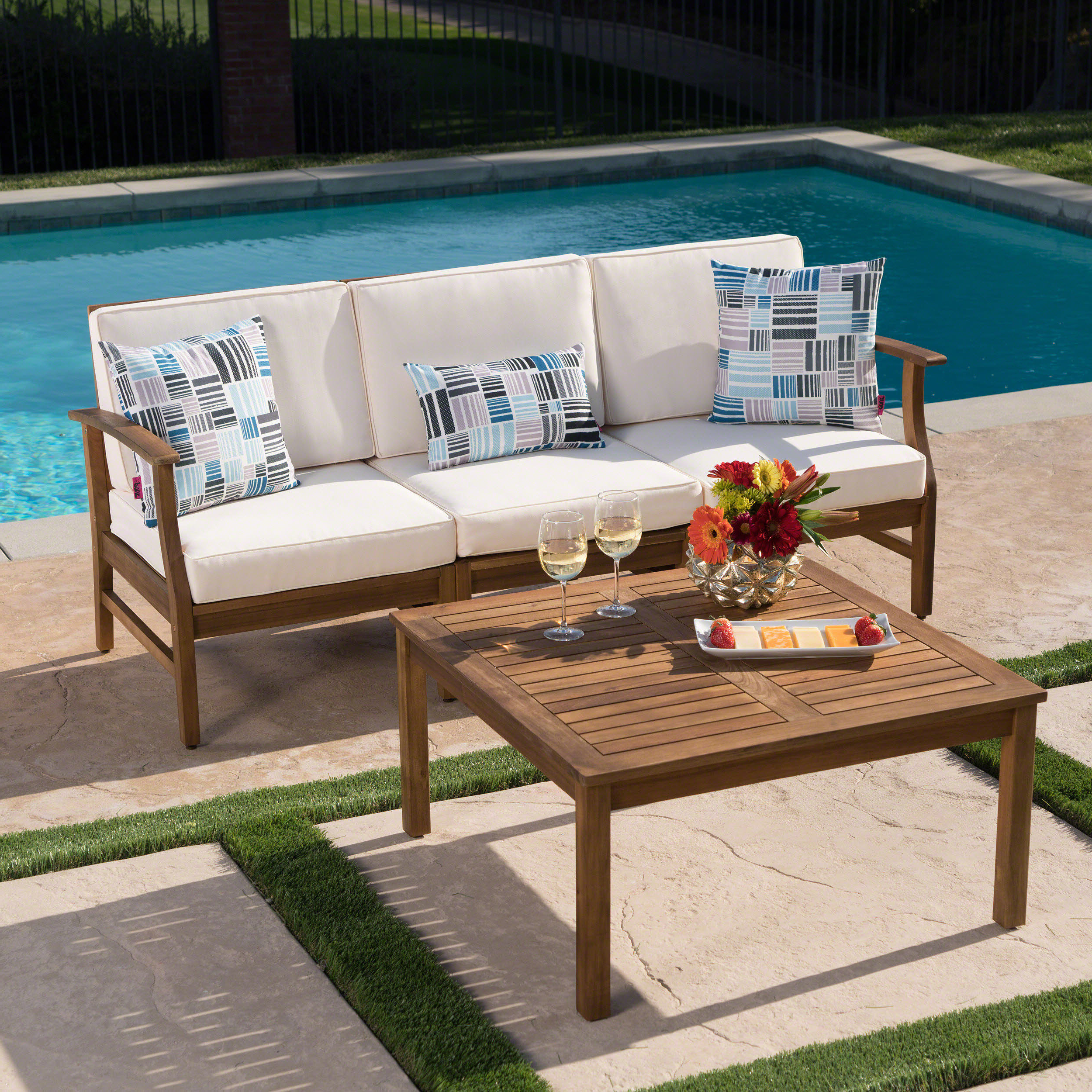 Antonia Outdoor 2 Piece Sofa Set With Cushions Pertaining To Well Liked Antonia Teak Patio Sectionals With Cushions (View 2 of 25)