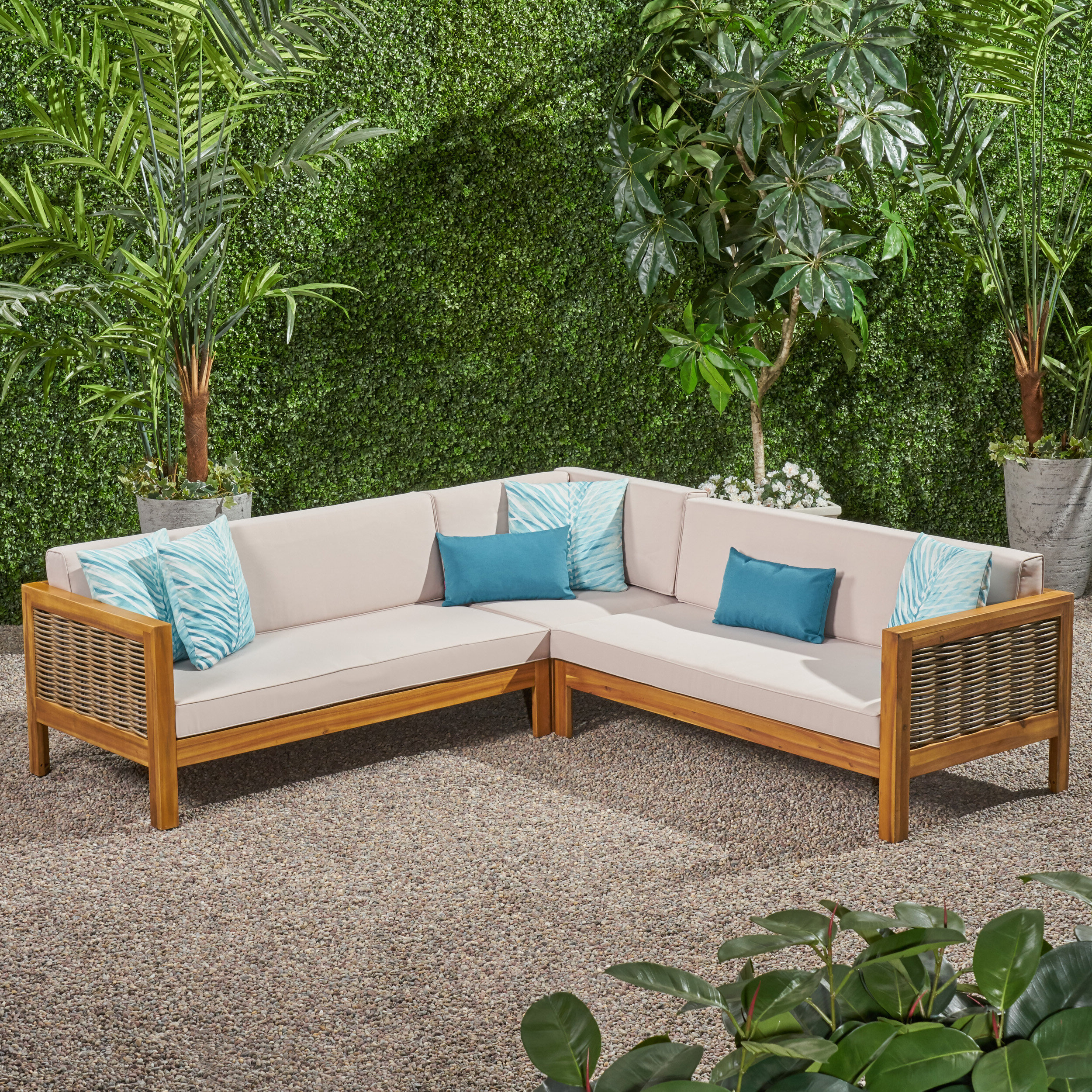 Antonia Teak Patio Sectionals With Cushions In Well Known Kennison Patio Sectional With Cushions (View 4 of 25)