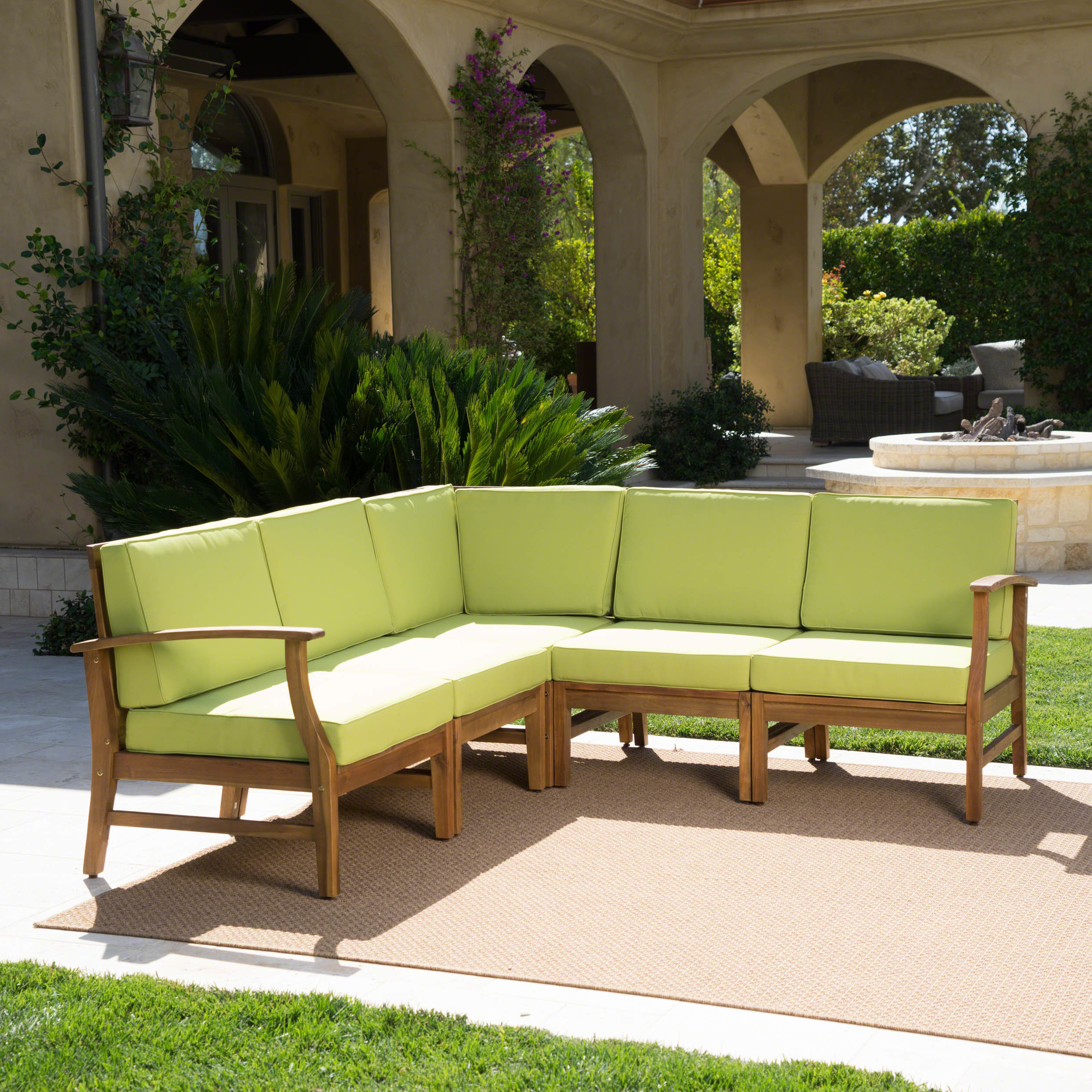 Antonia Teak Patio Sectionals With Cushions Intended For Trendy Antonia Teak Patio Sectional With Cushions (View 5 of 25)