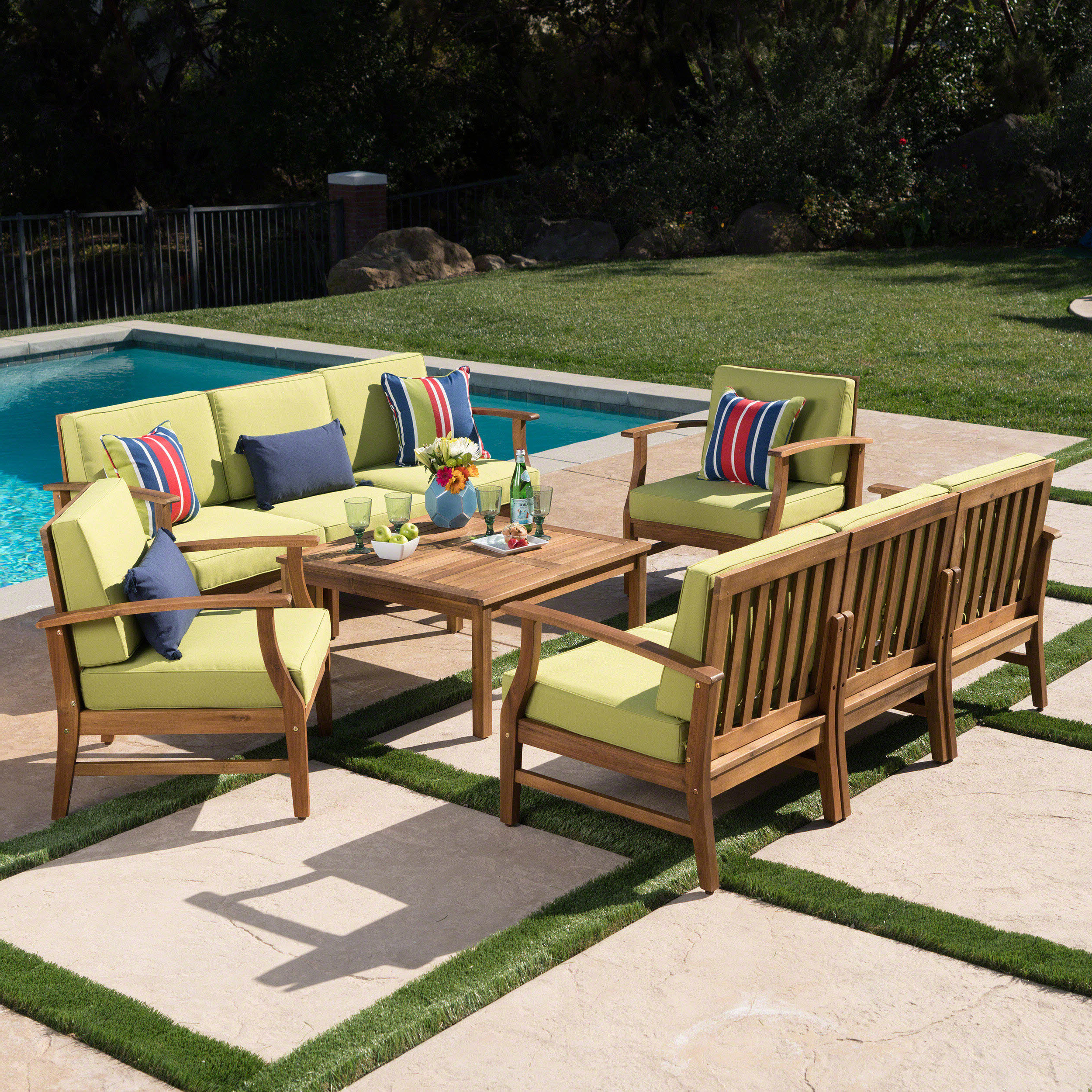 Antonia Teak Patio Sectionals With Cushions With 2019 Antonia 5 Piece Sofa Set With Cushions (Gallery 11 of 25)