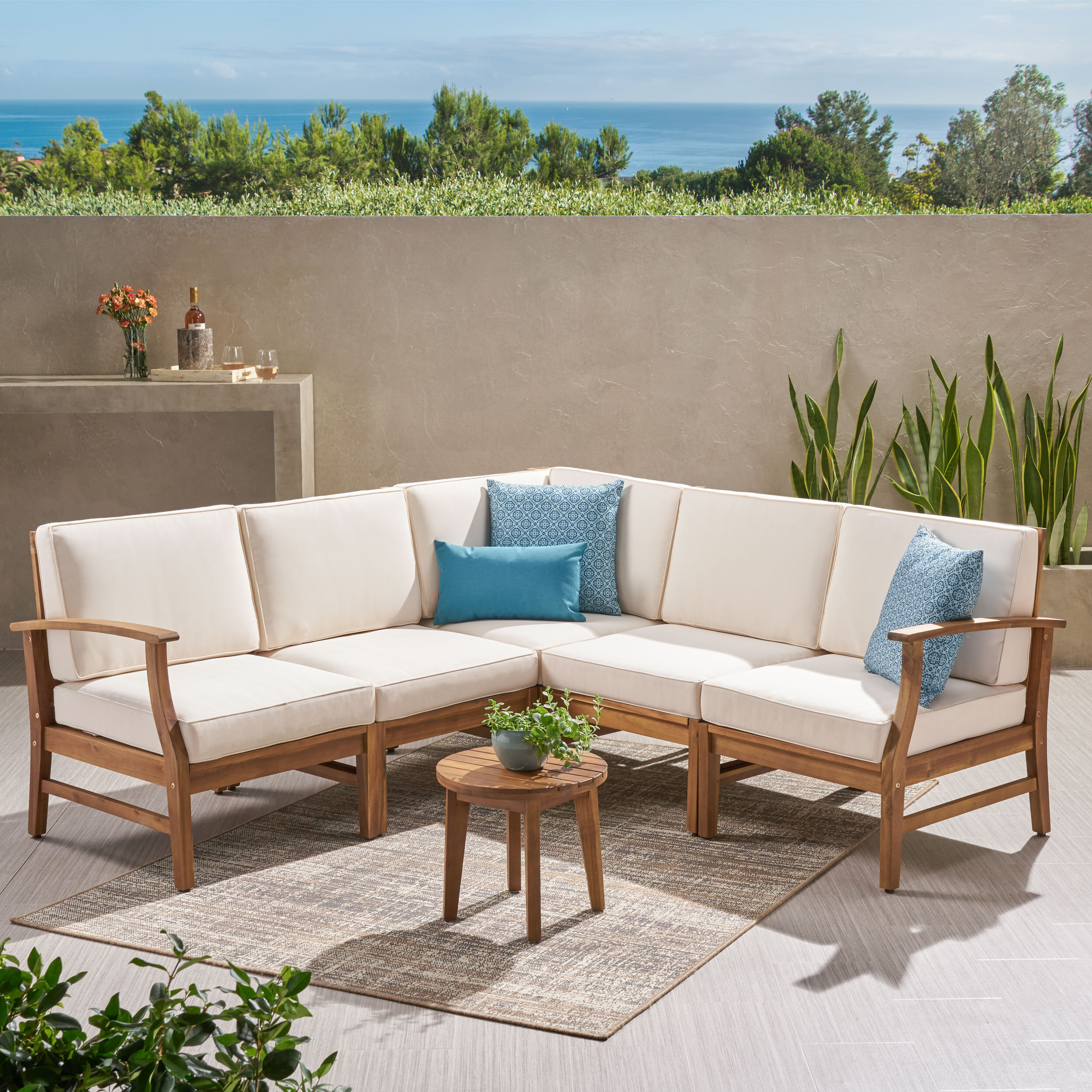 Antonia Teak Patio Sectionals With Cushions With Trendy Antonia Teak Patio Sectional With Cushions (View 10 of 25)