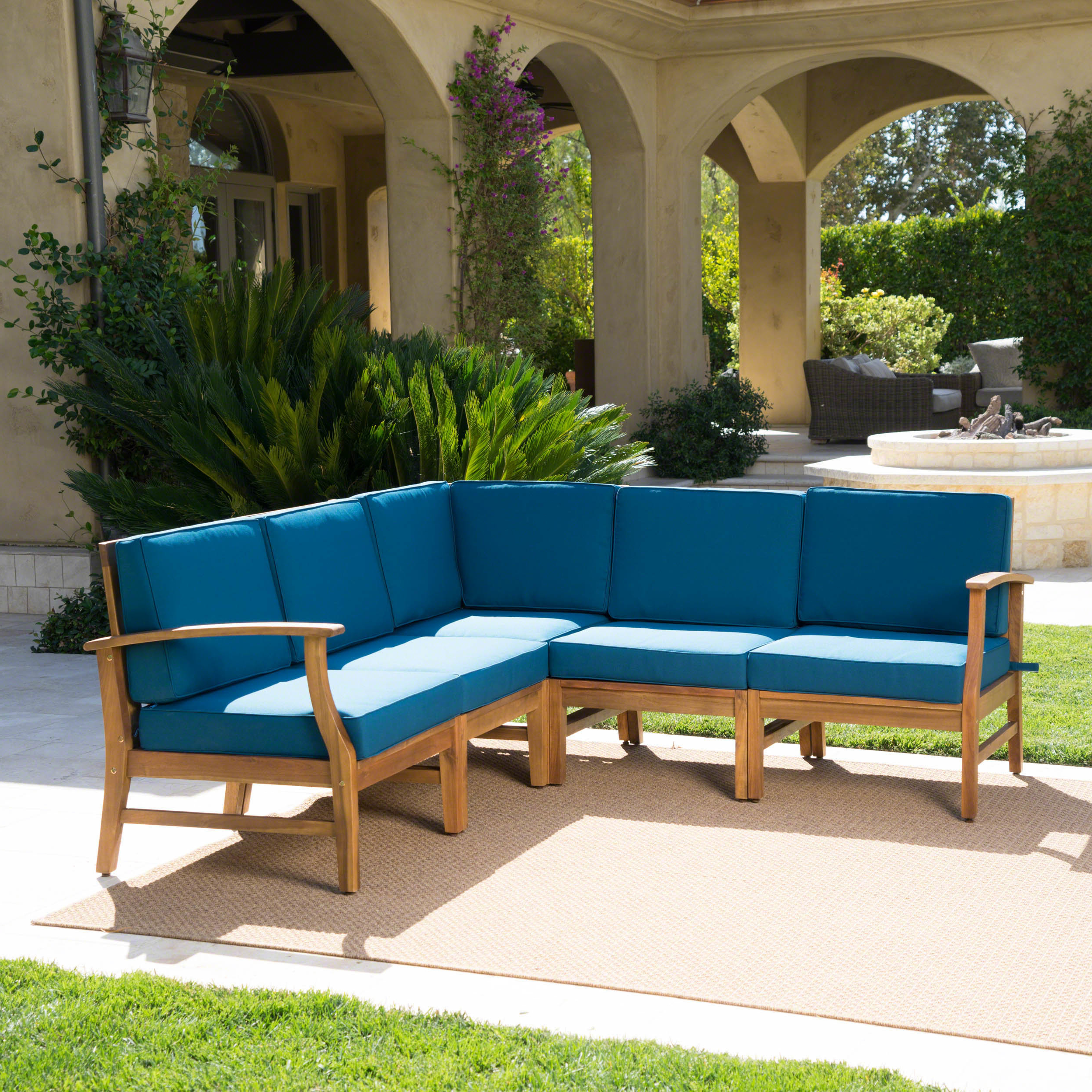 Antonia Teak Patio Sectionals With Cushions Within Preferred Antonia Teak Patio Sectional With Cushions (View 4 of 25)