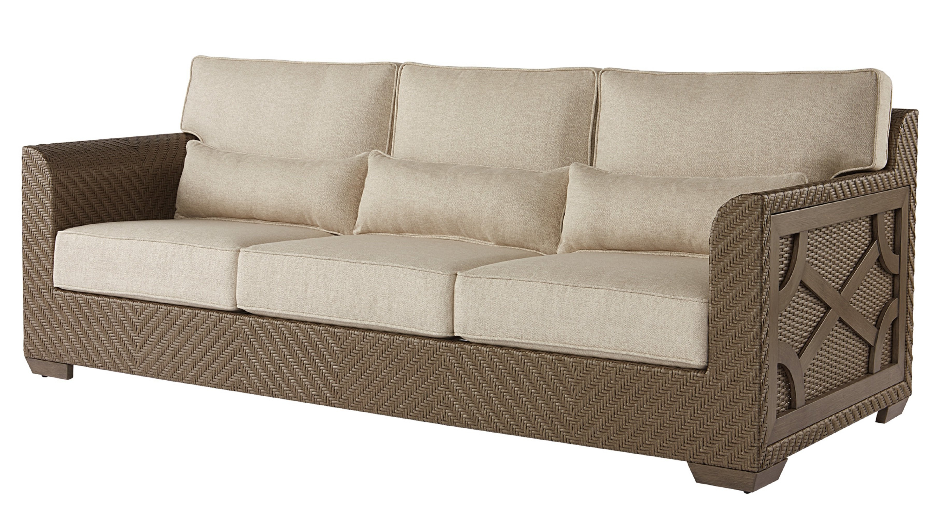 Astrid Wicker Patio Sofa With Cushions In Most Popular Loggins Patio Sofas With Cushions (Gallery 14 of 20)