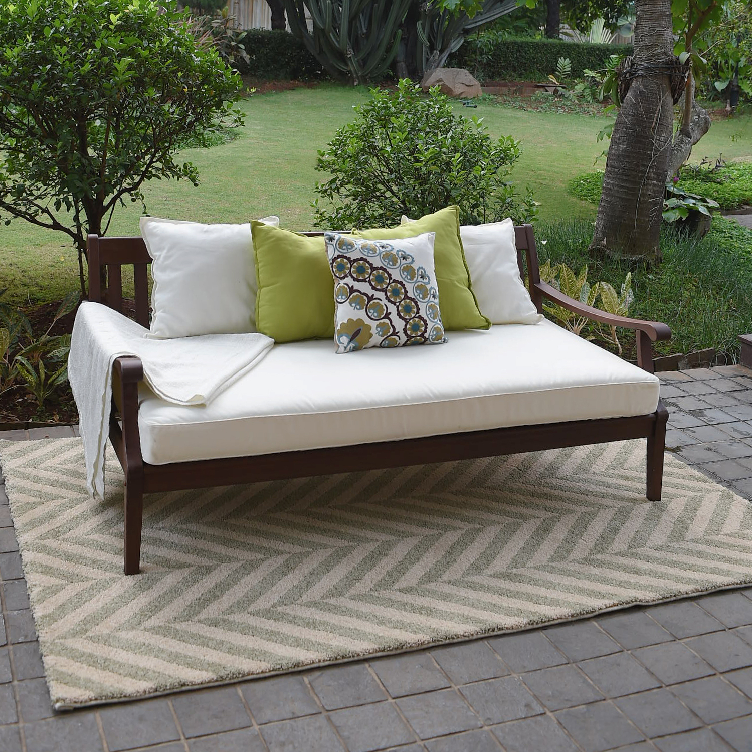 Aubrie Patio Daybeds With Cushions Intended For Popular Alston Wood Outdoor Sofa Daybed With White Cushion (View 24 of 25)