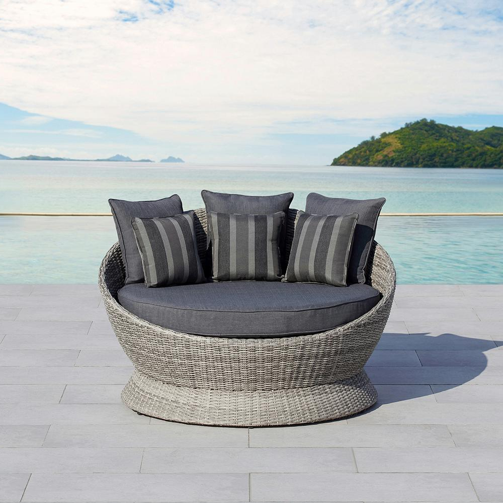 Aubrie Patio Daybeds With Cushions Throughout 2020 Ove Decors Brisbane Gray Wicker Outdoor Day Bed With Gray Cushion (View 6 of 25)