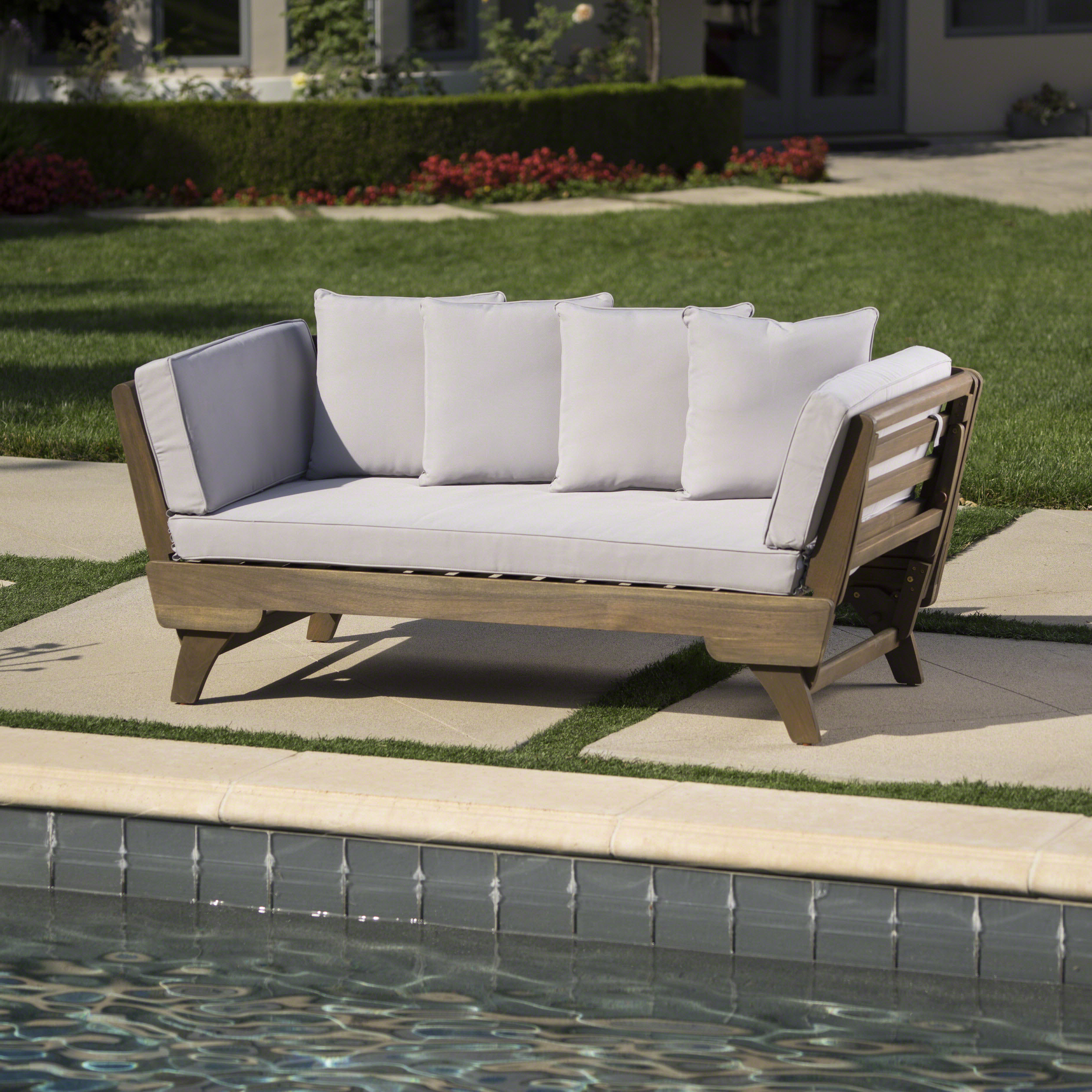 Aubrie Patio Daybeds With Cushions Throughout Newest Ellanti Teak Patio Daybed With Cushions (View 9 of 25)
