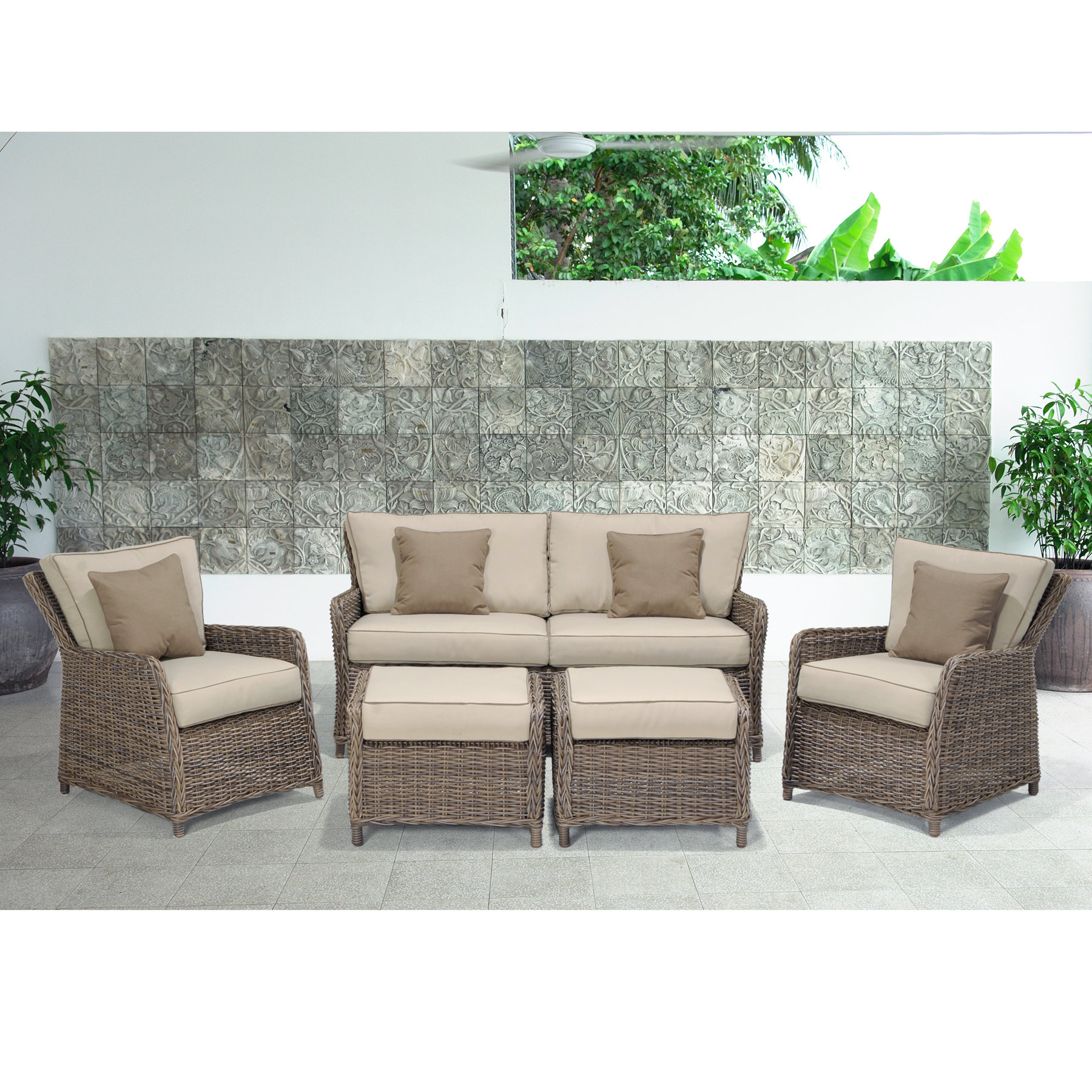 Avadi Outdoor 5 Piece Sofa Seating Group For Well Known Avadi Outdoor Sofas & Ottomans 3 Piece Set (View 1 of 25)
