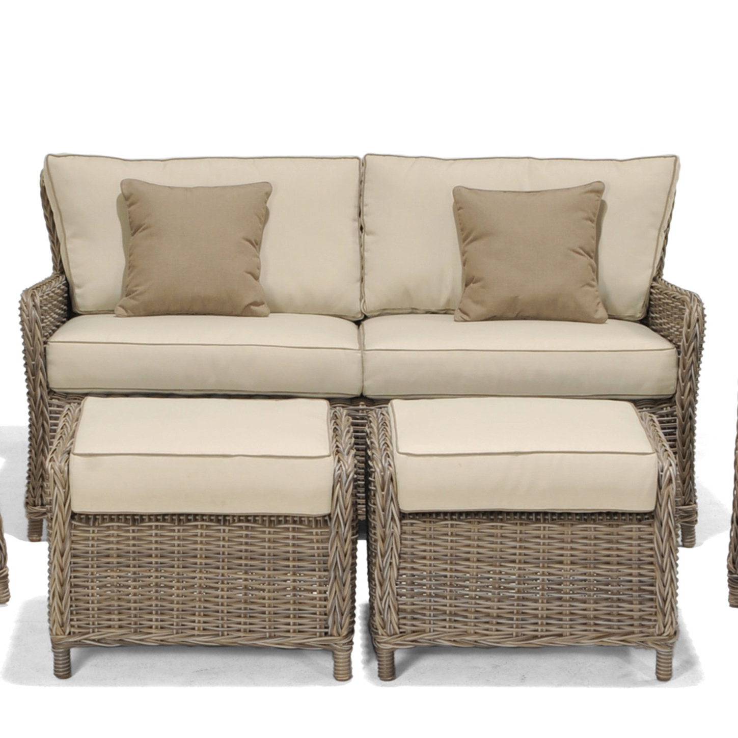 Avadi Outdoor Sofa & Ottomans 3 Piece Set Regarding Latest Avadi Outdoor Sofas & Ottomans 3 Piece Set (Gallery 1 of 25)
