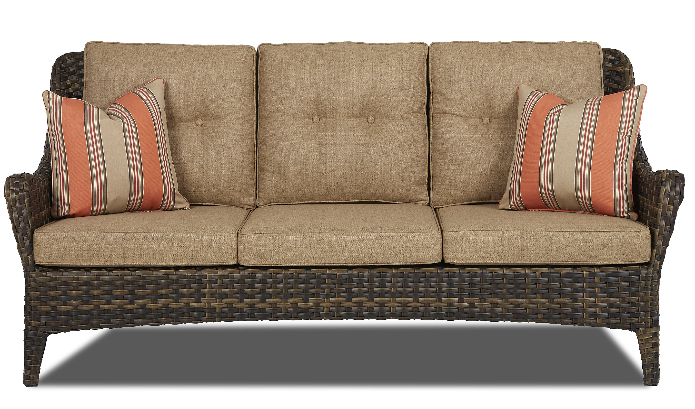 Avadi Outdoor Sofas & Ottomans 3 Piece Set For Current Ranstead Patio Sofa With Cushion (View 3 of 25)