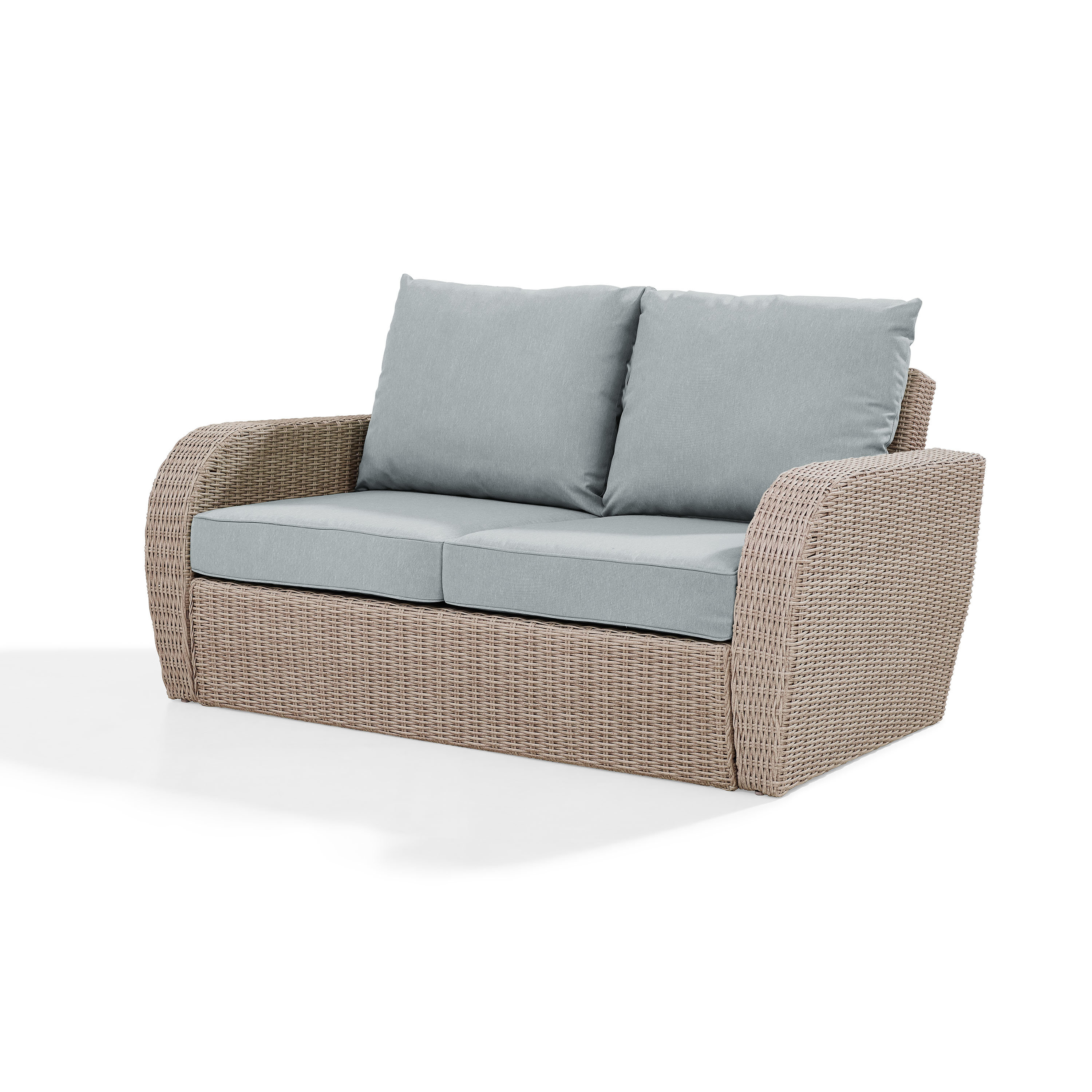 Avadi Outdoor Sofas & Ottomans 3 Piece Set In Recent Zakrzewski Wicker Loveseat With Cushion (Gallery 7 of 25)