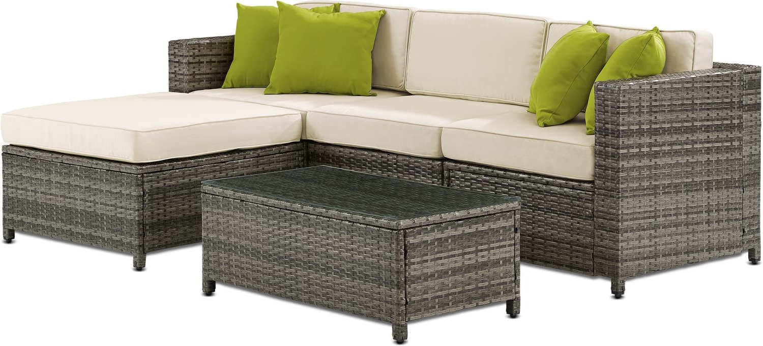 Avadi Outdoor Sofas & Ottomans 3 Piece Set Inside Fashionable Outdoor Sofa And Ottoman – Budapestsightseeing (Gallery 5 of 25)