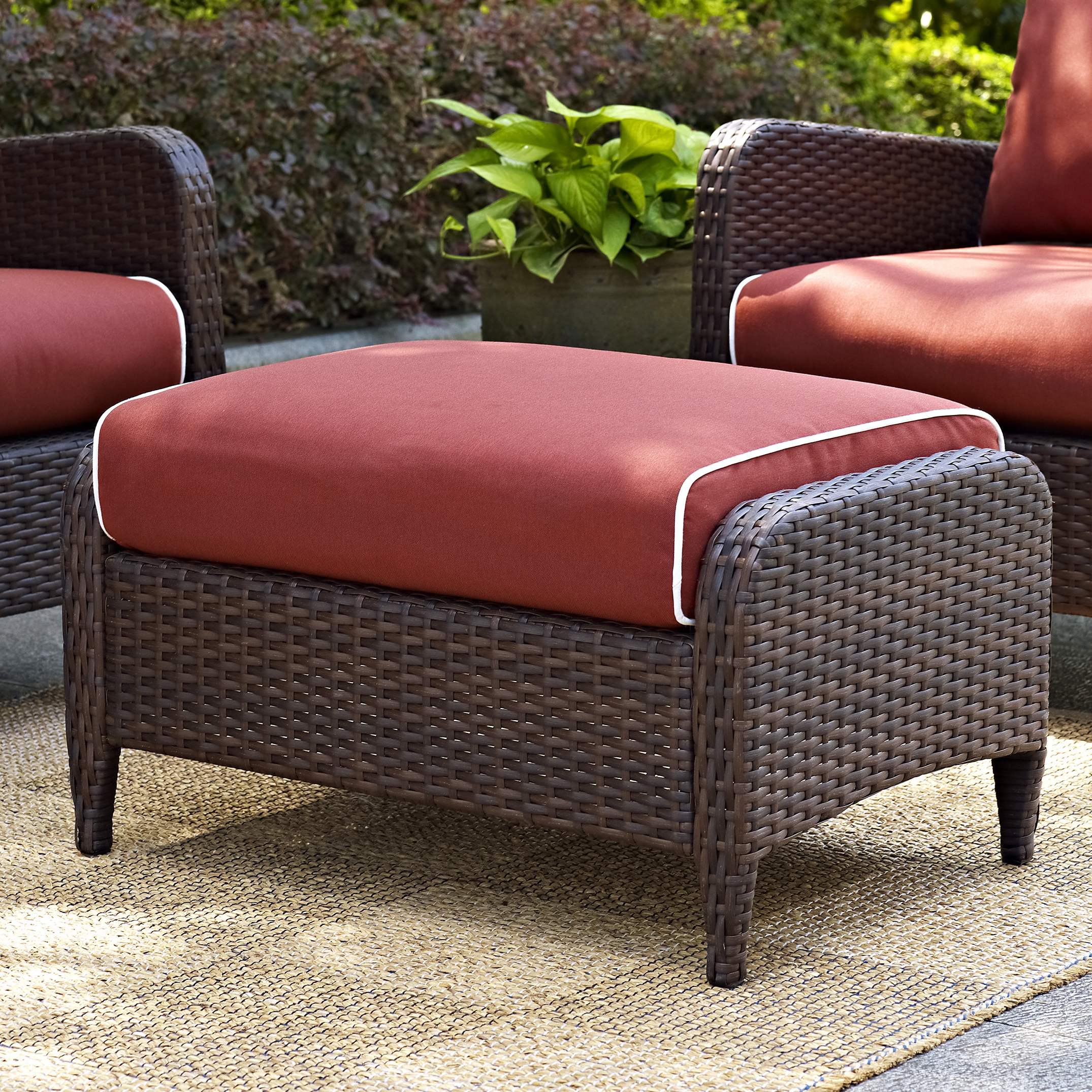 Avadi Outdoor Sofas & Ottomans 3 Piece Set Intended For Most Up To Date Mosca Ottoman With Cushion (Gallery 18 of 25)