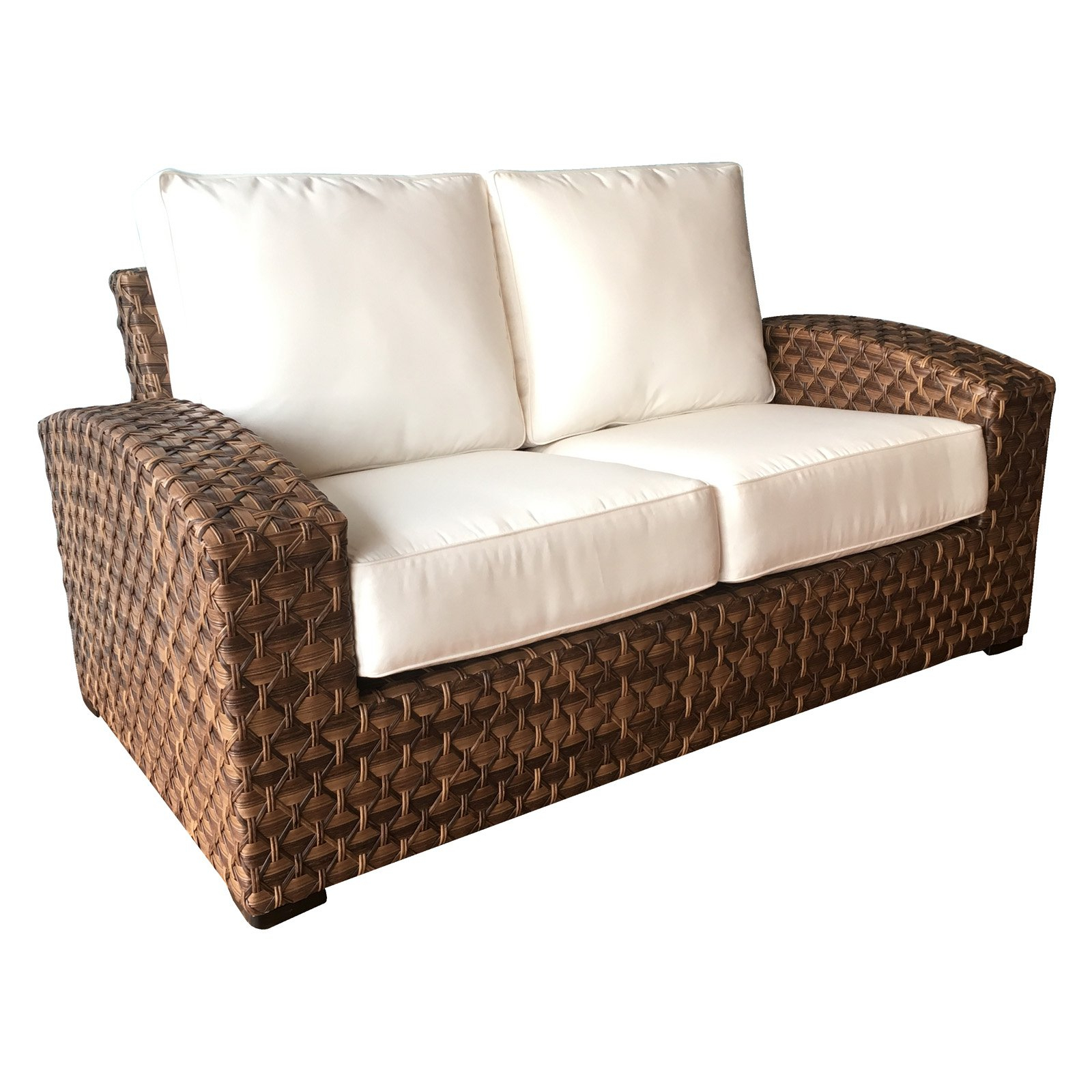Avadi Outdoor Sofas & Ottomans 3 Piece Set Pertaining To Well Known Outdoor Wicker Paradise Westbury Loveseat With Sunbrella (View 8 of 25)