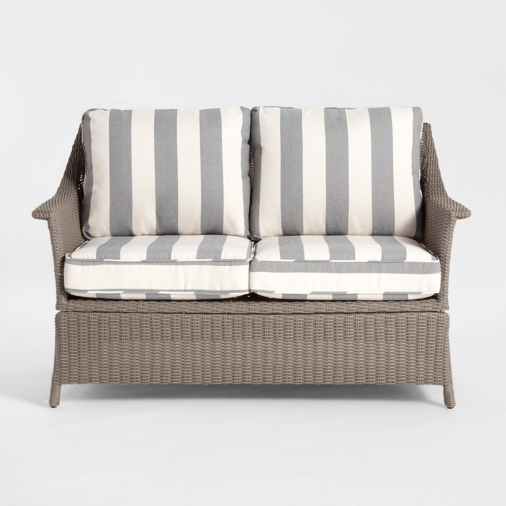 Avadi Outdoor Sofas & Ottomans 3 Piece Set Throughout Fashionable Foxborough Cabana Stripe Patio Loveseat – Gray/white (Gallery 12 of 25)