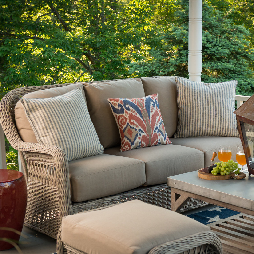 Avadi Outdoor Sofas & Ottomans 3 Piece Set With Regard To Widely Used Washtenaw Patio Sofa With Cushions (View 12 of 25)