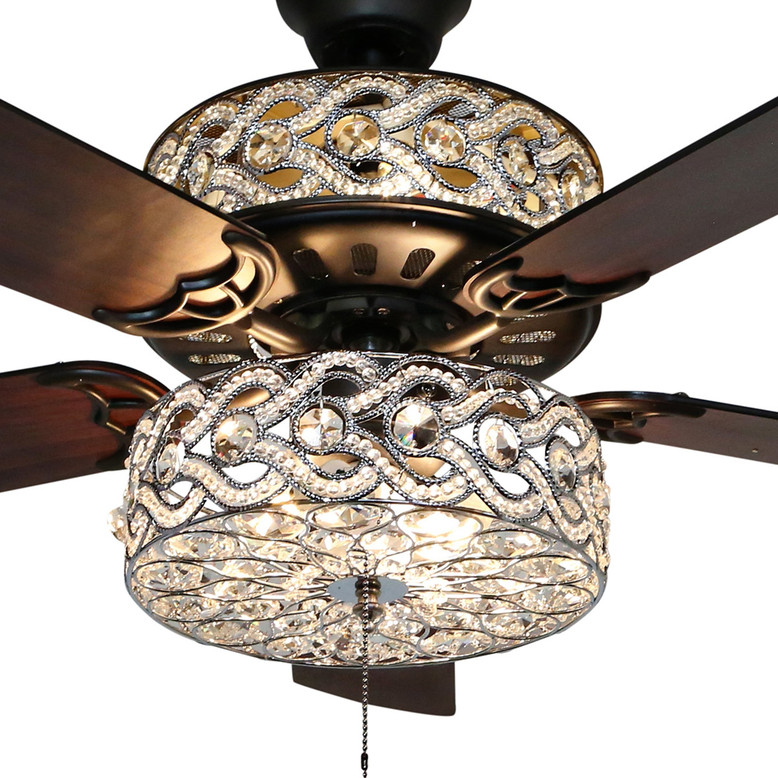 "Banyan 5 Blade Ceiling Fans Within Famous 52"" Olivia Double Lit 5 Blade Beaded Braid Wedding Band Led Ceiling Fan  With Remote Control – 52""l X 52""w X  (View 6 of 20)"