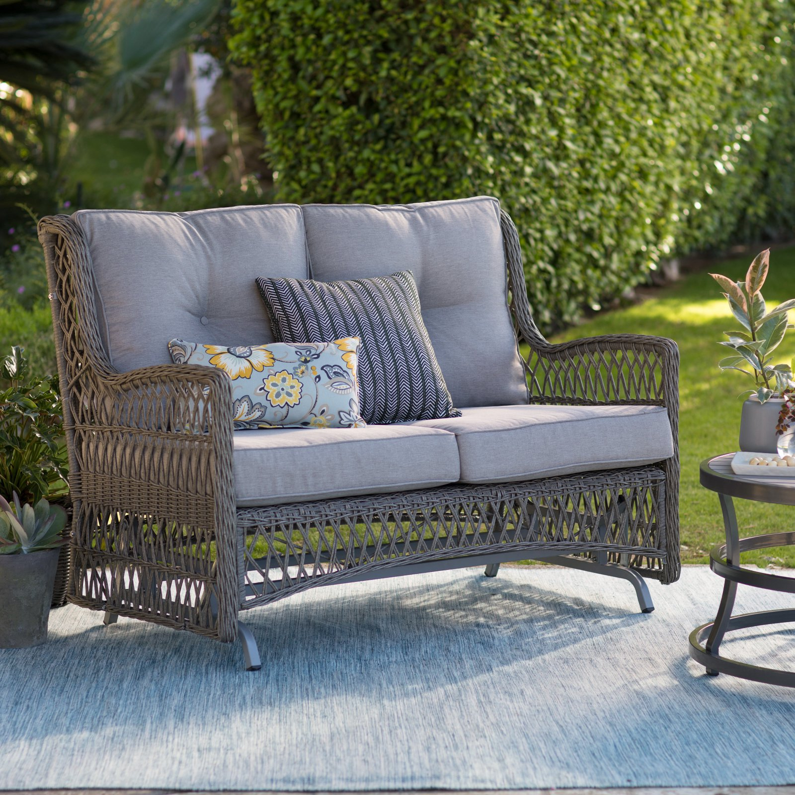 Belham Living Bristol Outdoor Glider Bench With Cushions With Most Up To Date Bristol Loveseats With Cushions (View 1 of 20)