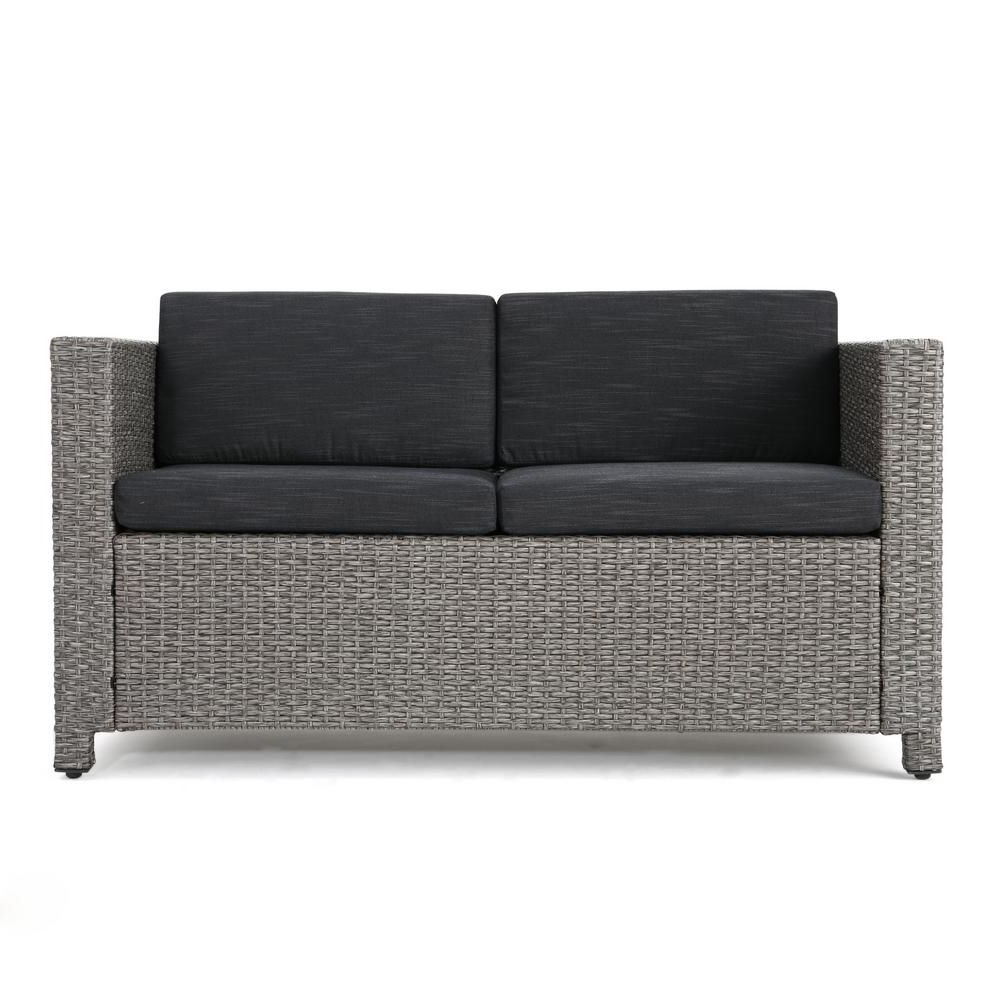 Belton Loveseats With Cushions Within Most Current Noble House Gray Wicker Outdoor Loveseat With Mixed Black (View 12 of 25)