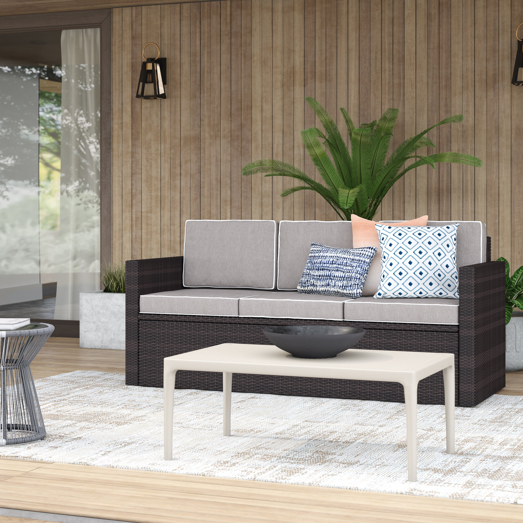 Belton Patio Sofa With Cushions Intended For Popular Yoselin Patio Sofas With Cushions (Gallery 5 of 20)